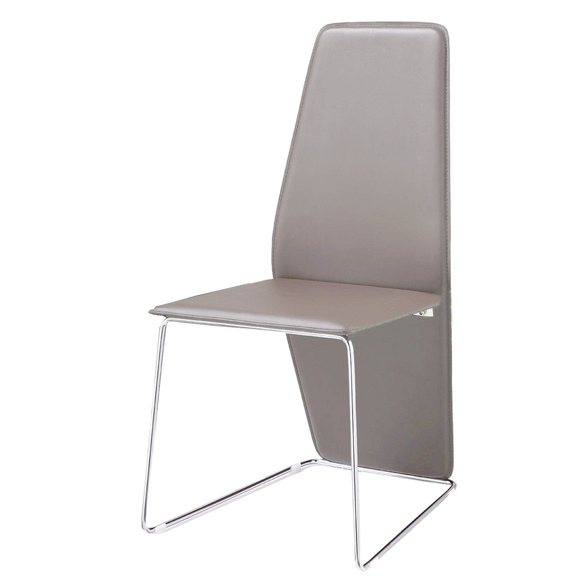 Chrome Dining Room Chairs Within Trendy Bellini Logan Grey Leather And Chrome Dining Chair (Set Of 2) (Light (Gallery 22 of 25)