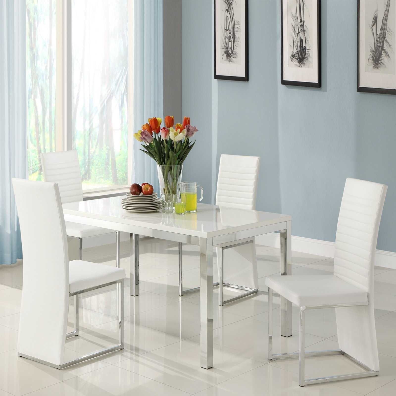 Chrome Dining Room Sets For Most Recent Homelegance Clarice 5 Piece Chrome Dining Table Set – Modern White (Gallery 14 of 25)