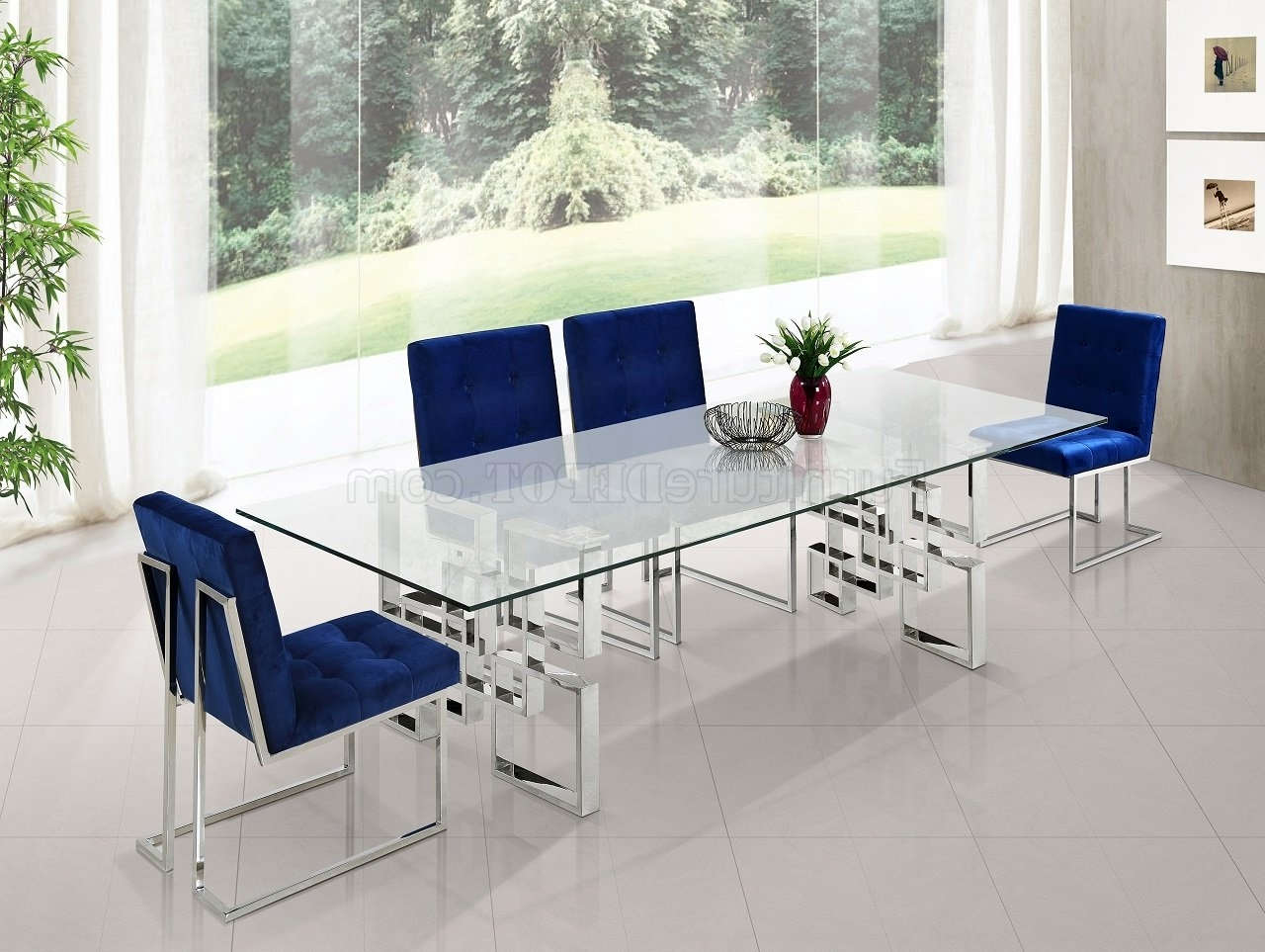 Chrome Dining Sets In Well Liked Alexis 731 Chrome Dining Table W/glass Top & Optional Chairs (Gallery 10 of 25)