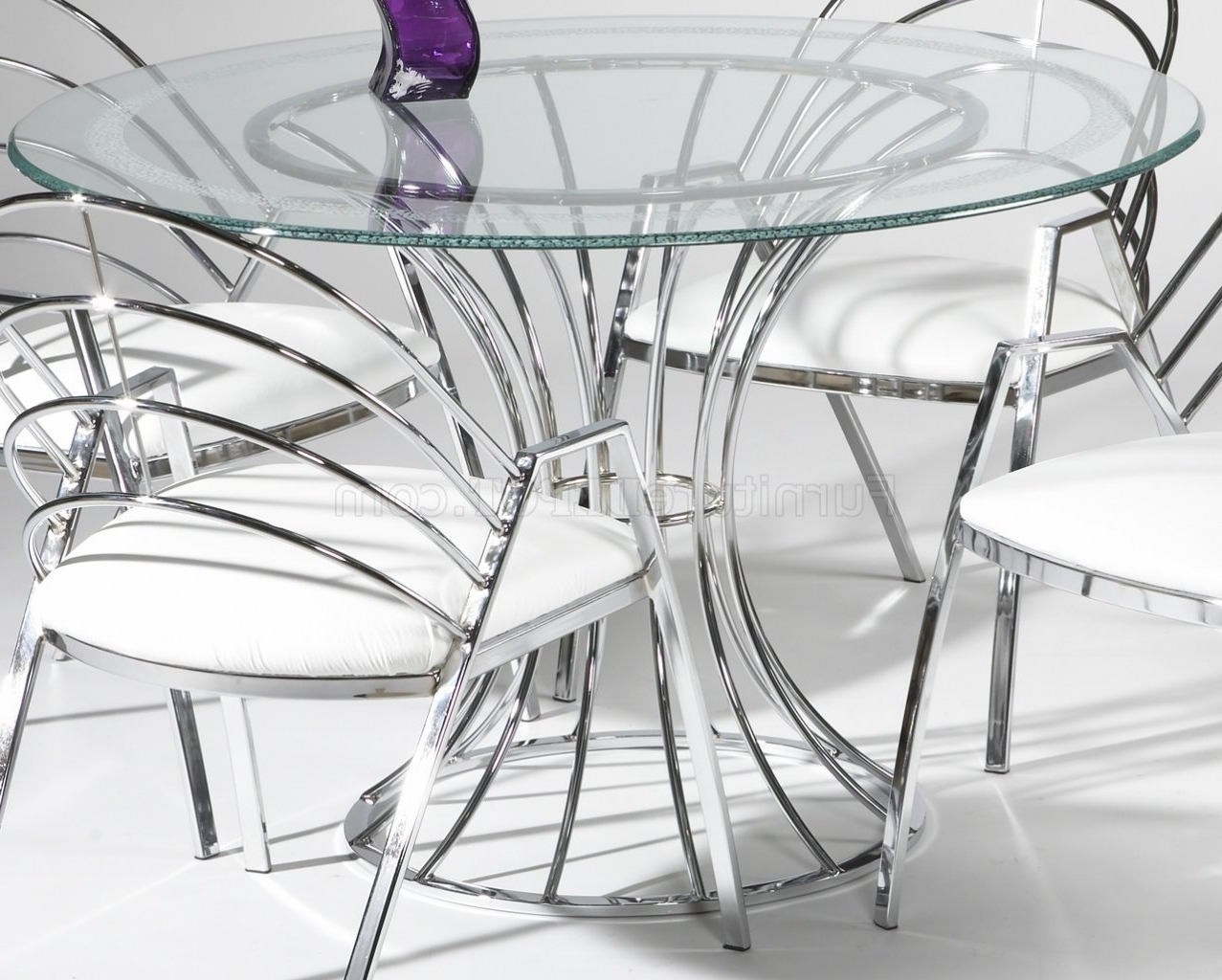 Chrome Dining Sets Pertaining To 2018 Glass Top & Chrome Base Modern Dining Table W/optional Chairs (View 3 of 25)