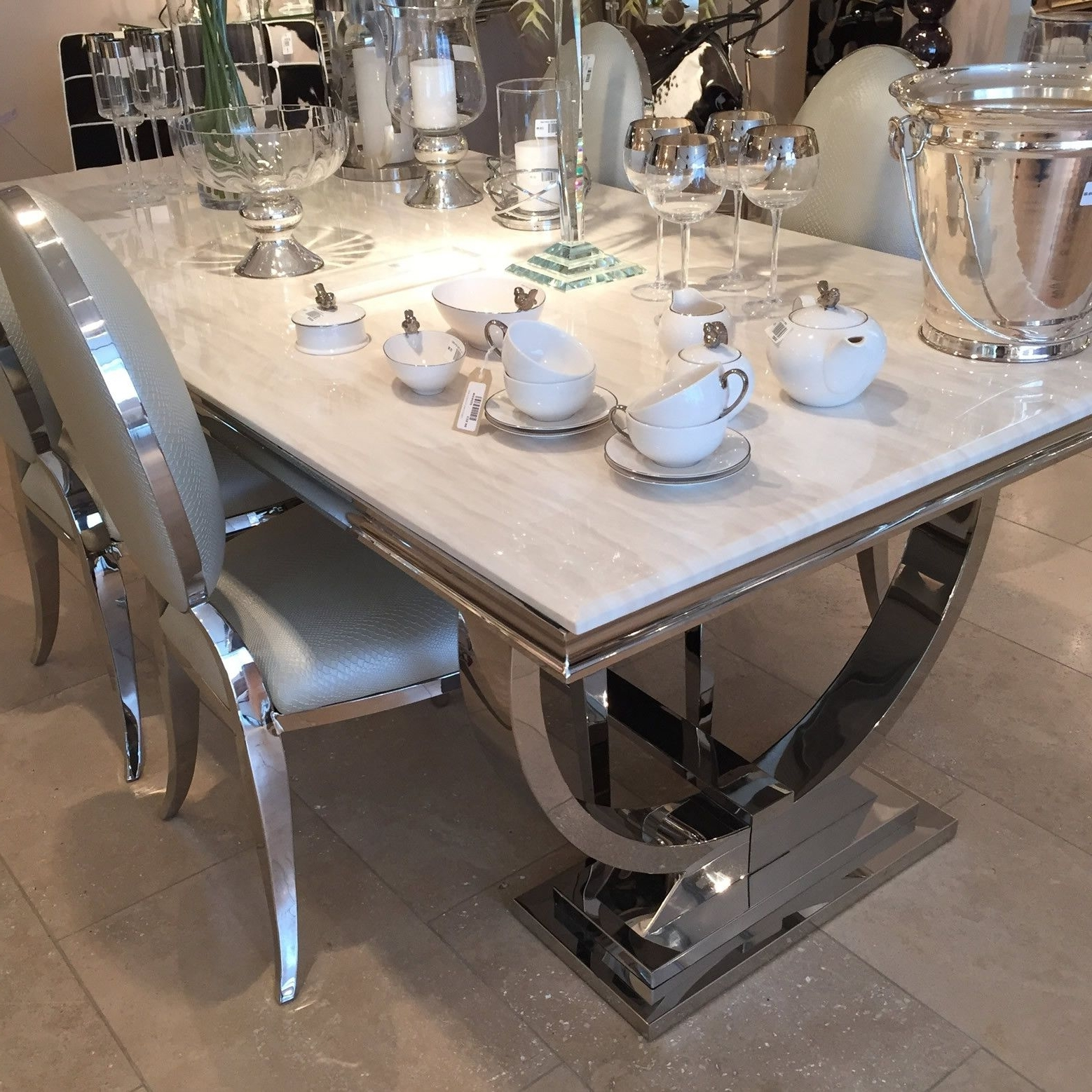 Chrome Dining Sets Throughout Latest Cream Marble And Chrome Dining Table With U Shaped Legs (View 1 of 25)