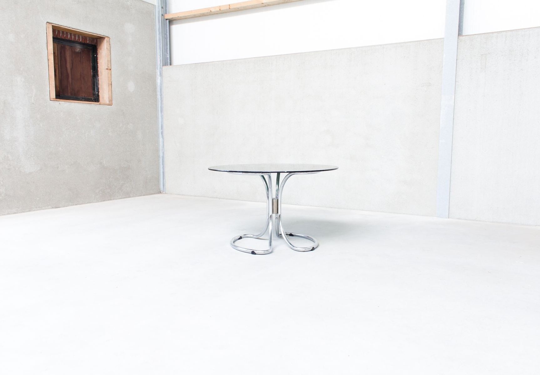 Chrome Dining Sets Throughout Preferred Vintage Italian Chrome & Smoked Glass Dining Tablegiotto (View 12 of 25)