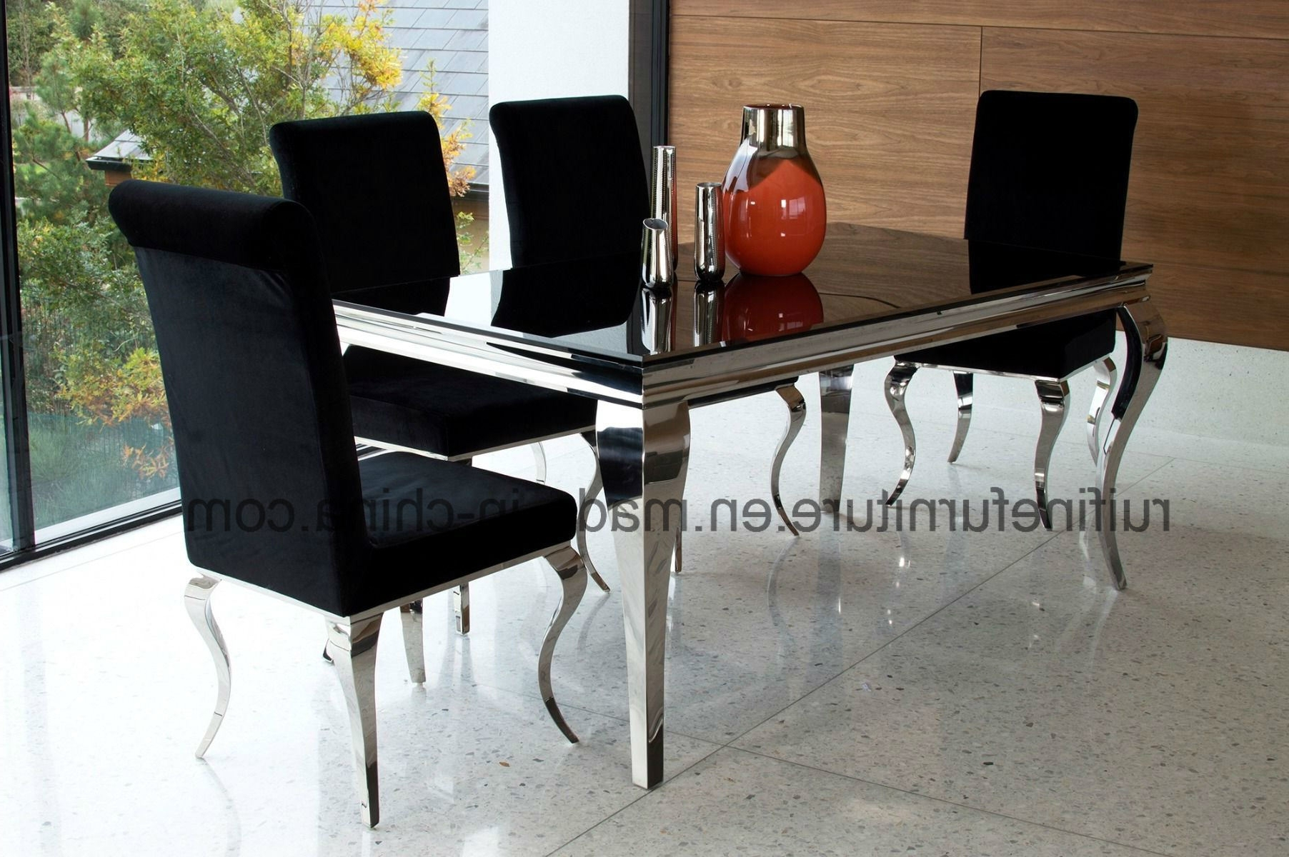 Chrome Dining Tables And Chairs For Most Recent China Modern French Louis Chrome Dining Table Set For 6 Chairs (View 15 of 25)