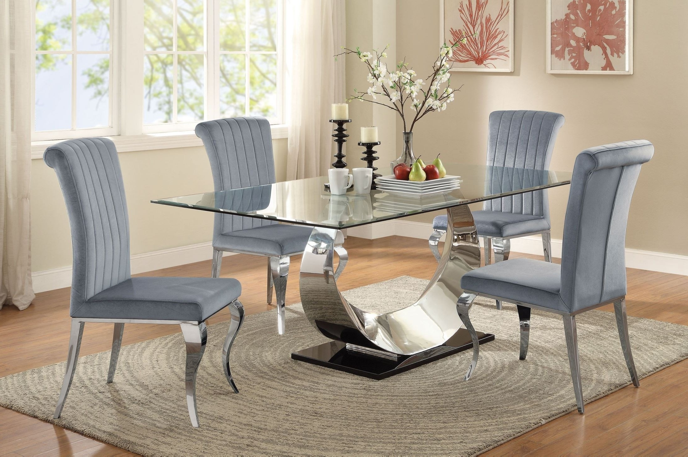 Chrome Dining Tables And Chairs With Regard To Well Known Coaster Manessier Chrome Dining Room Set – Manessier Collection:  (View 5 of 25)