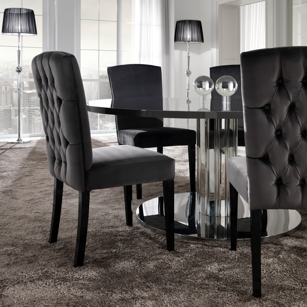 Chrome Dining Tables And Chairs Within Latest Italian Modern Designer Chrome Round Dining Table Set (View 2 of 25)