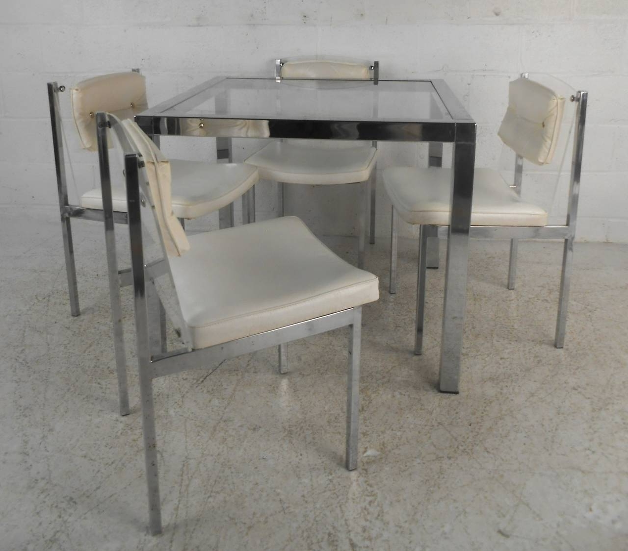 Chrome Dining Tables And Chairs Within Most Popular Mid Century Modern Chrome, Glass, And Lucite Dining Set Table With (View 12 of 25)