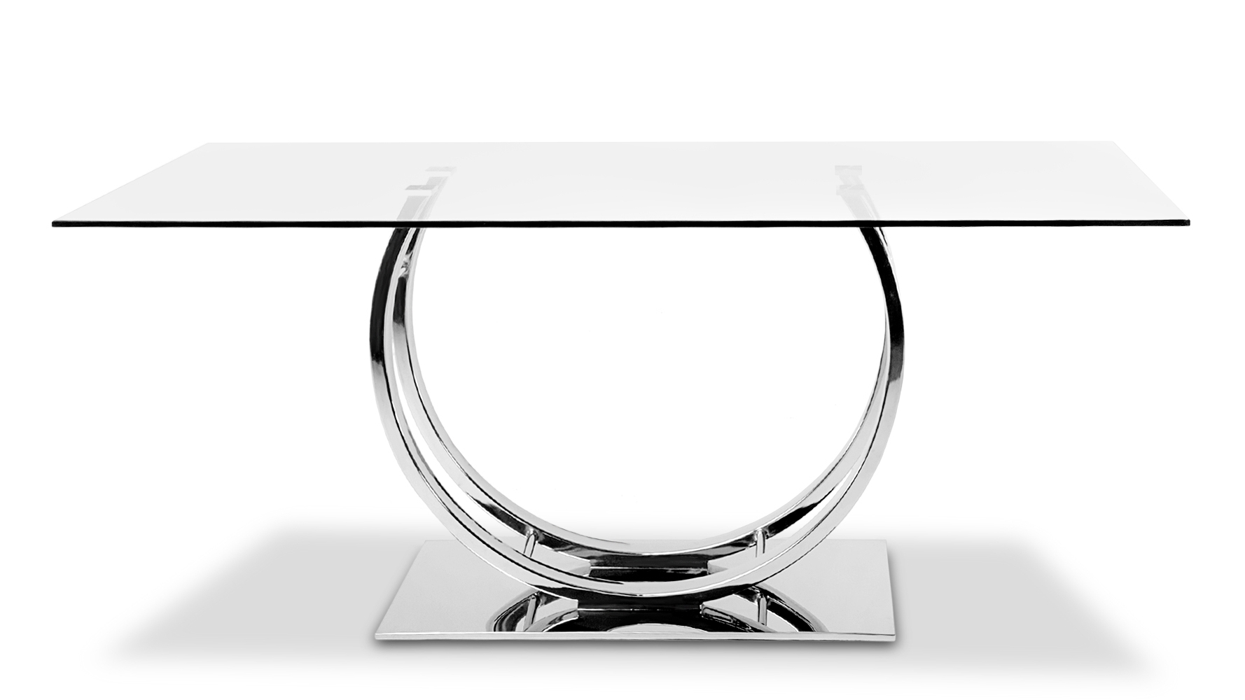 Chrome Dining Tables In Recent Palazzo Glass Modern Dining Table With Polished Chrome Base (View 3 of 25)
