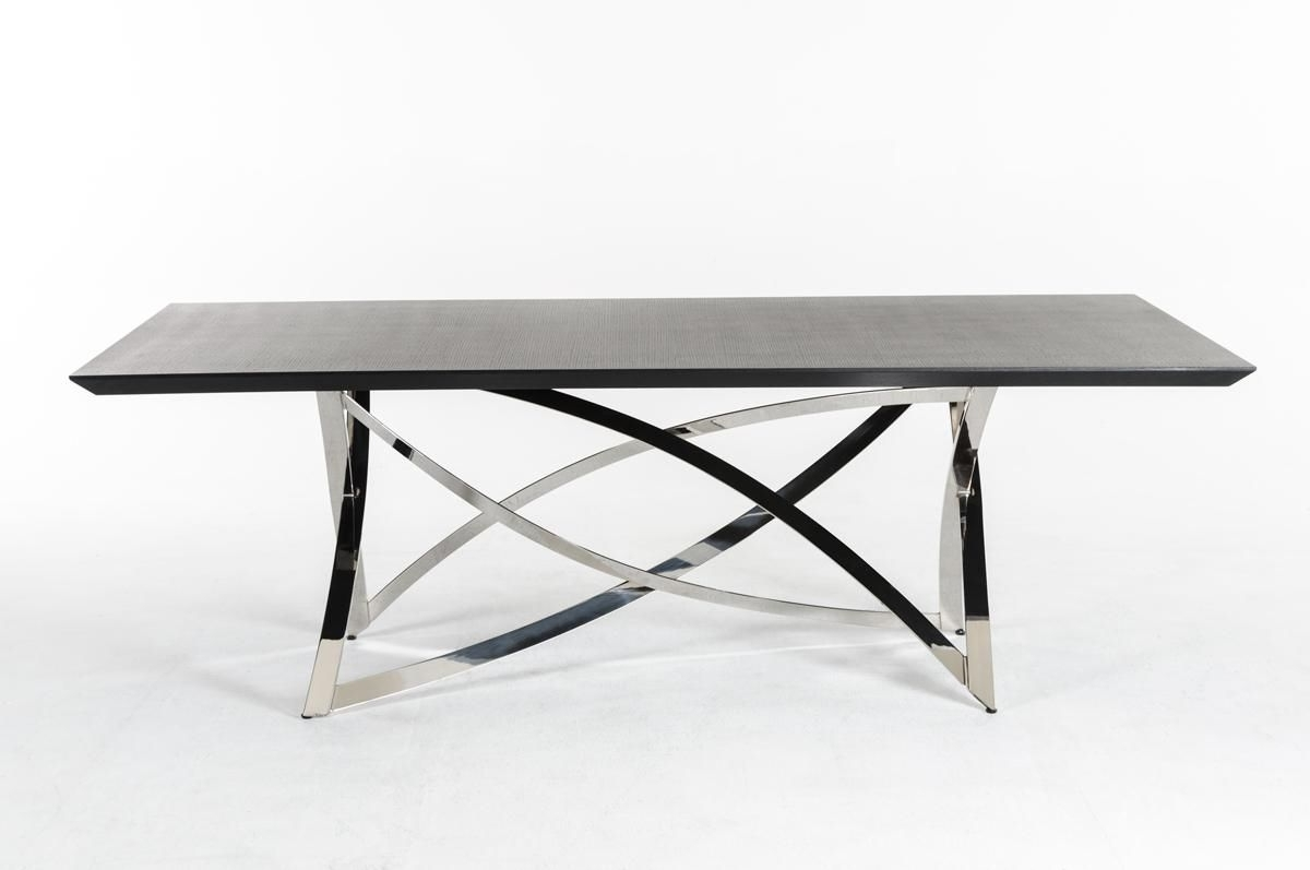 Chrome Dining Tables Intended For Favorite Ultra Contemporary Wenge Dining Table With Unique Steel Base (View 4 of 25)