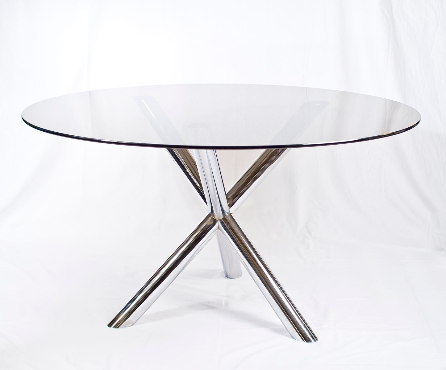 Chrome & Glass Dining Table, 1970S For Sale At Pamono Intended For Fashionable Chrome Glass Dining Tables (View 20 of 25)