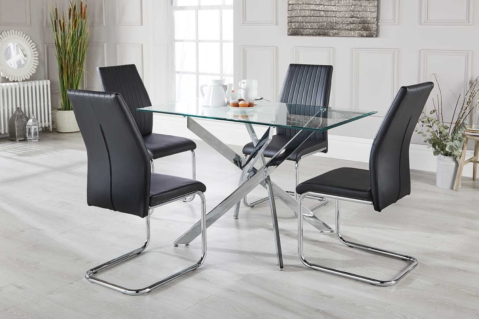 Chrome Glass Dining Tables Inside Favorite Leonardo Black White Chrome Glass Dining Table Set And 4 Leather (View 18 of 25)