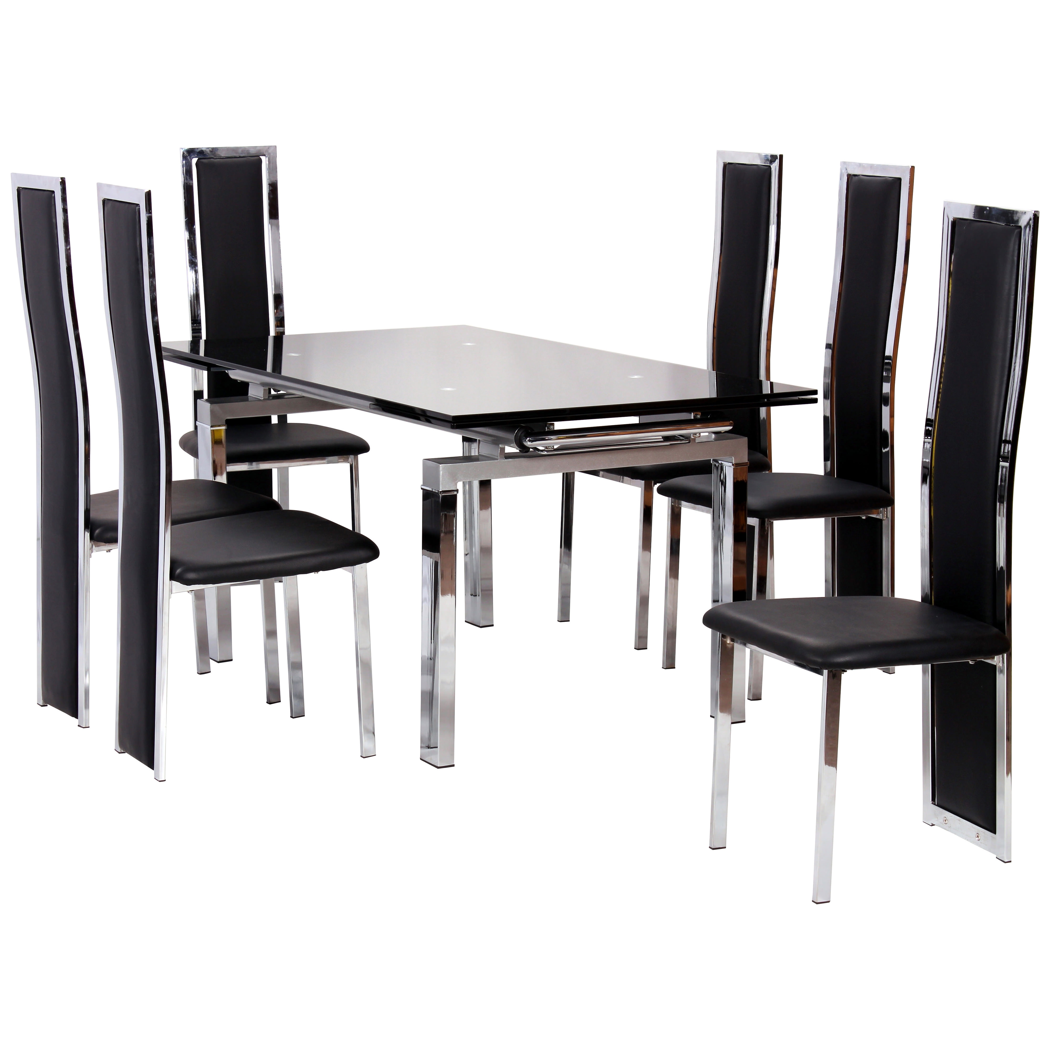 Chrome & Glass Extending Dining Table And Chair Set With 6 Seats Pertaining To Most Recently Released Glass Extendable Dining Tables And 6 Chairs (View 2 of 25)