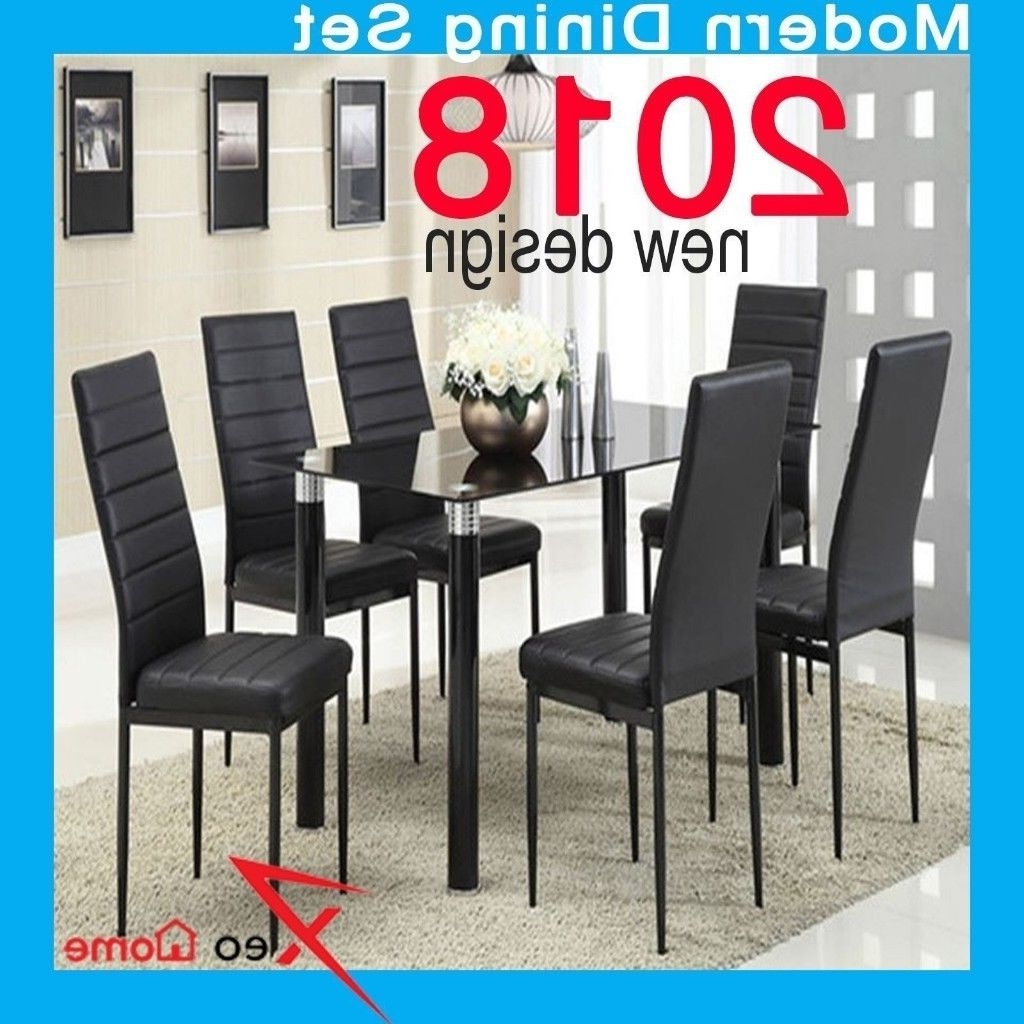 Chrome Leather Dining Chairs For Trendy Black High Gloss Dining Table Set And 6 Chrome Leather Dining Chairs (Gallery 25 of 25)