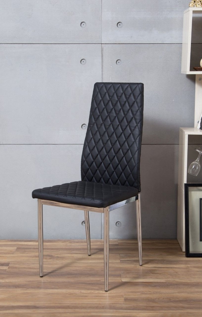 Chrome Leather Dining Chairs Intended For Well Liked 6X Chrome Hatched Black Faux Leather Dining Chairs Metal Legs Foam (View 9 of 25)
