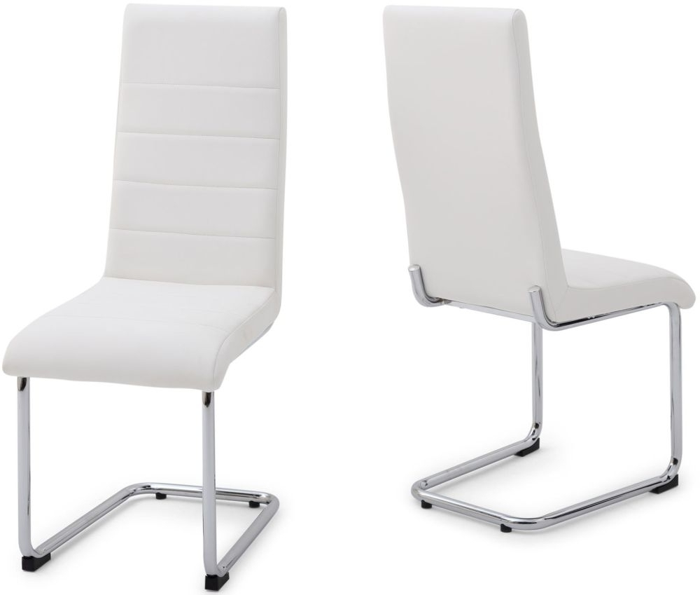 Chrome Leather Dining Chairs Throughout Well Liked Bonn White Faux Leather Dining Chair With Chrome Legs (Pair) (Gallery 14 of 25)