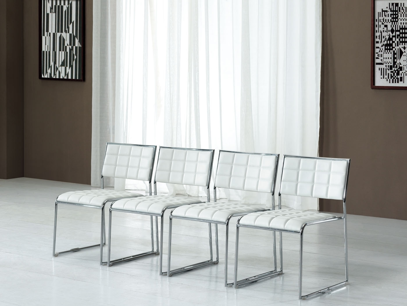 Chrome Leather Dining Chairs With Regard To 2017 Luxury Simplicity Of Modern White Dining Chairs (View 11 of 25)