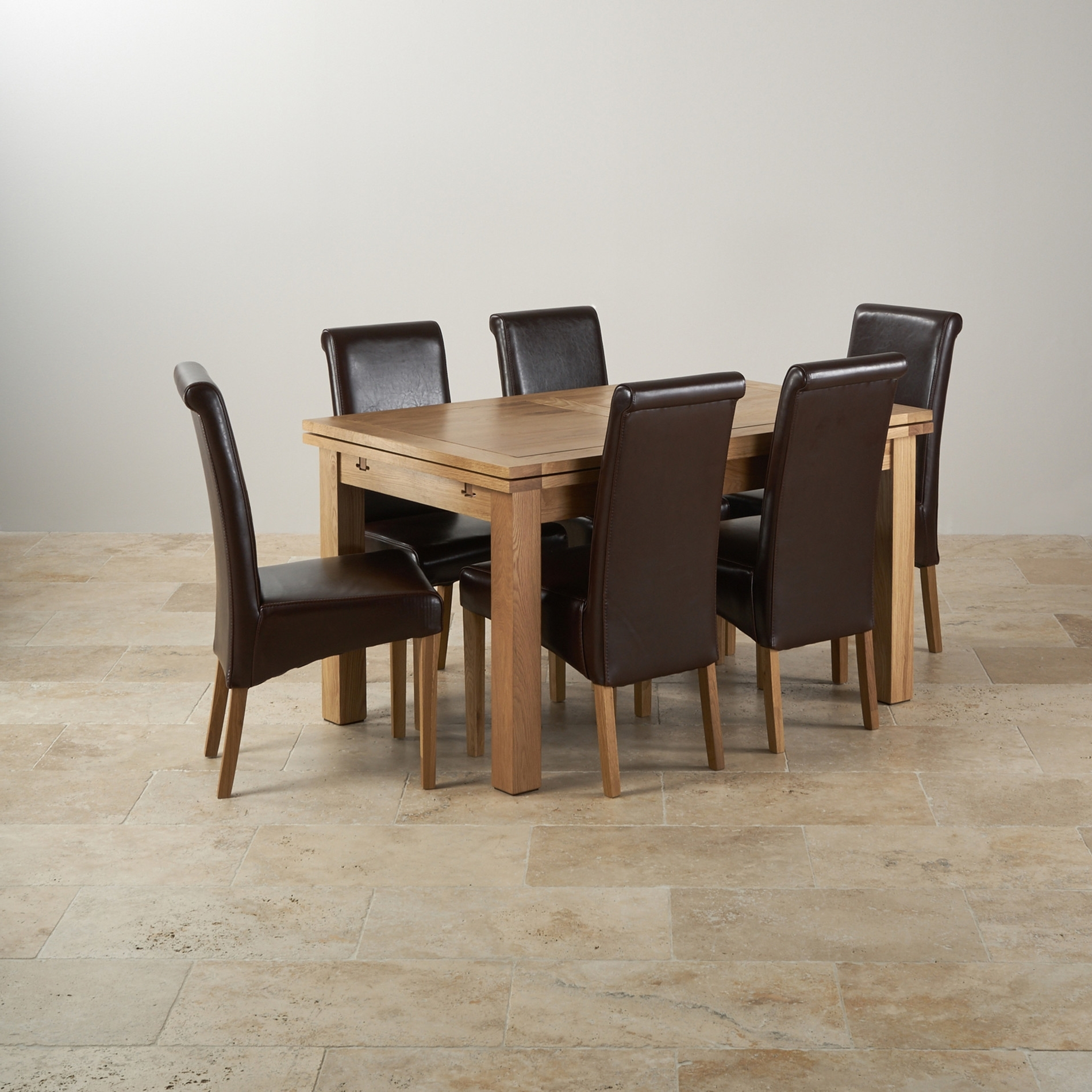 Chunky Solid Oak Dining Tables And 6 Chairs With Regard To Widely Used Impressive Solid Oak Extending Dining Table And 6 Chairs Leather And (View 25 of 25)