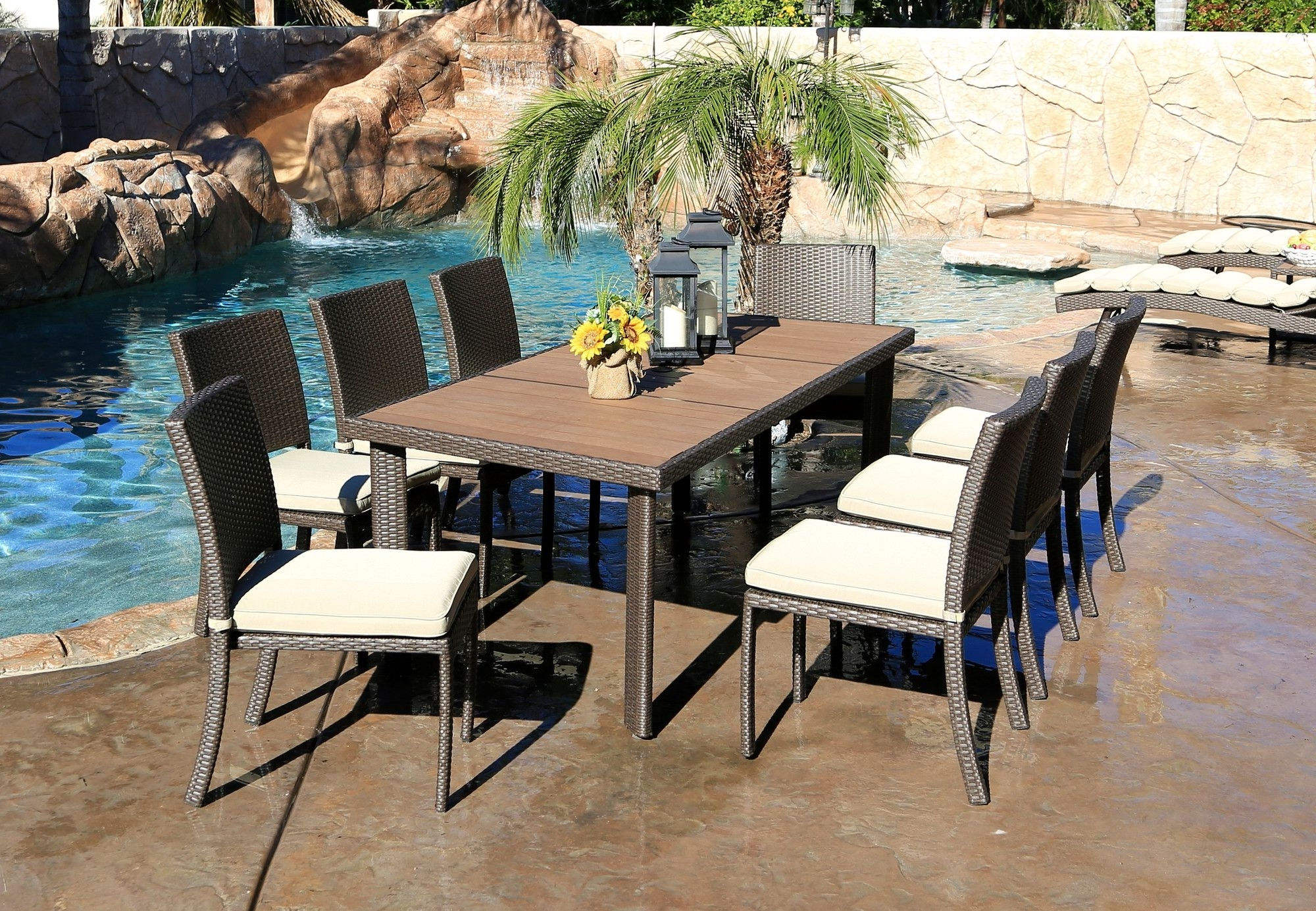 Cicero 9 Piece Armless Dining Set With Cushions (View 12 of 25)