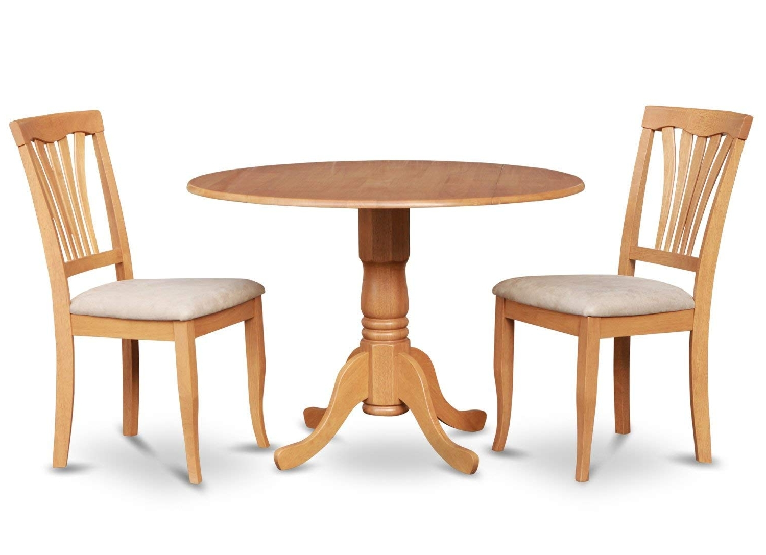 Circle Dining Tables Pertaining To Well Known Amazon: East West Furniture Dlav3 Oak W 3 Piece Kitchen Nook (View 4 of 25)