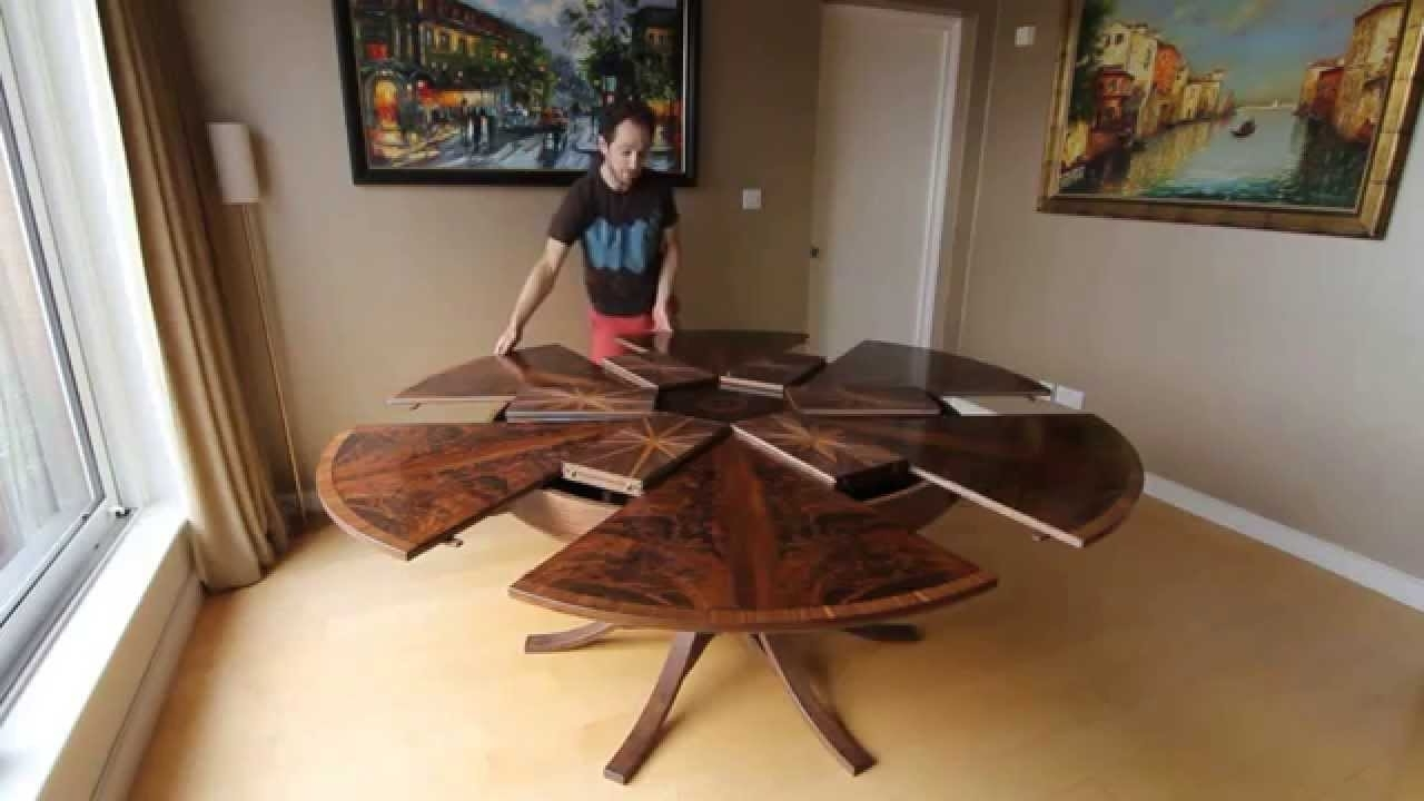Circular Dining Tables For Newest Expanding Circular Dining Table In Walnut – Youtube (View 5 of 25)