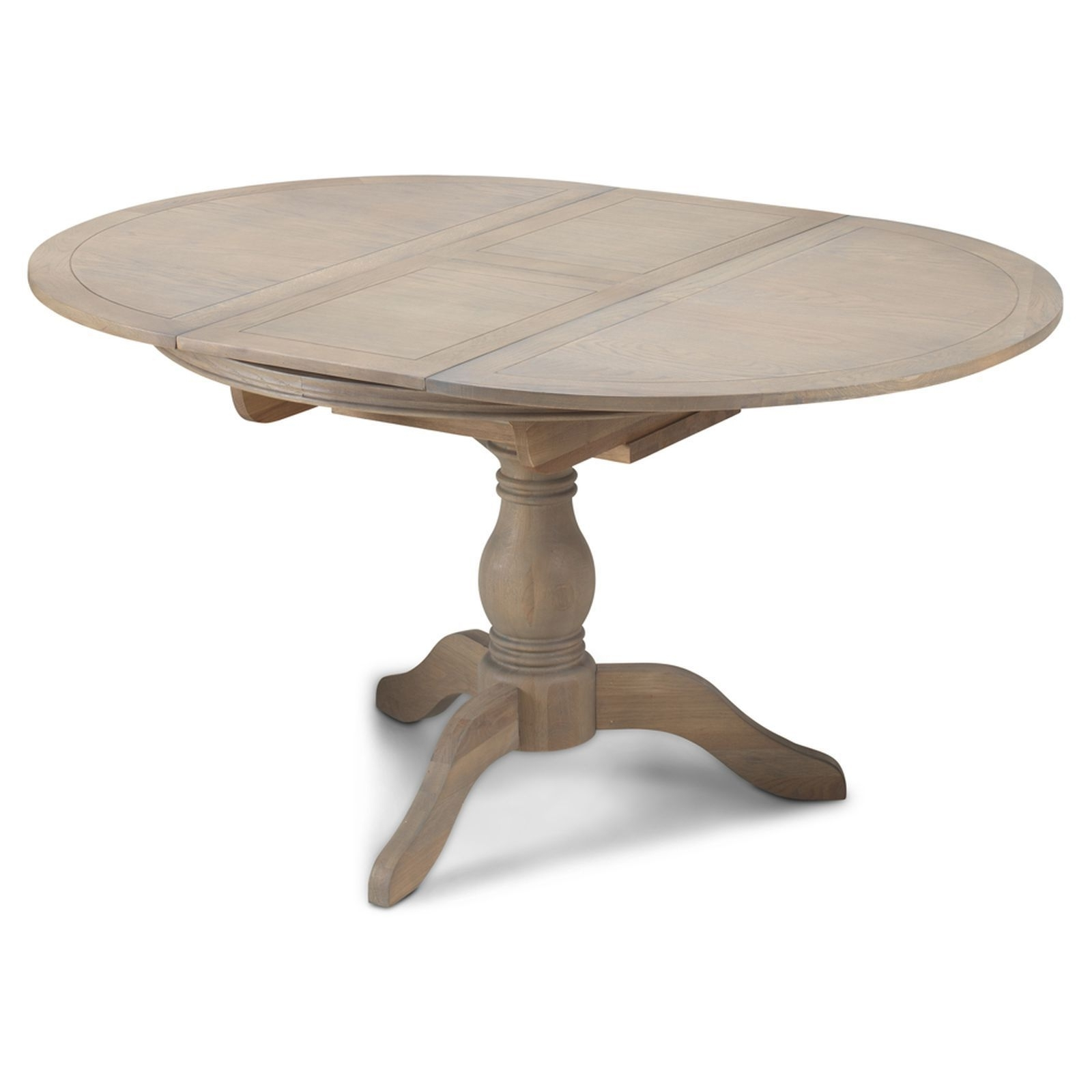 Circular Oak Dining Tables Regarding Most Popular Paloma Oak Furniture Grey Extending Round Circular Dining Table  (View 13 of 25)