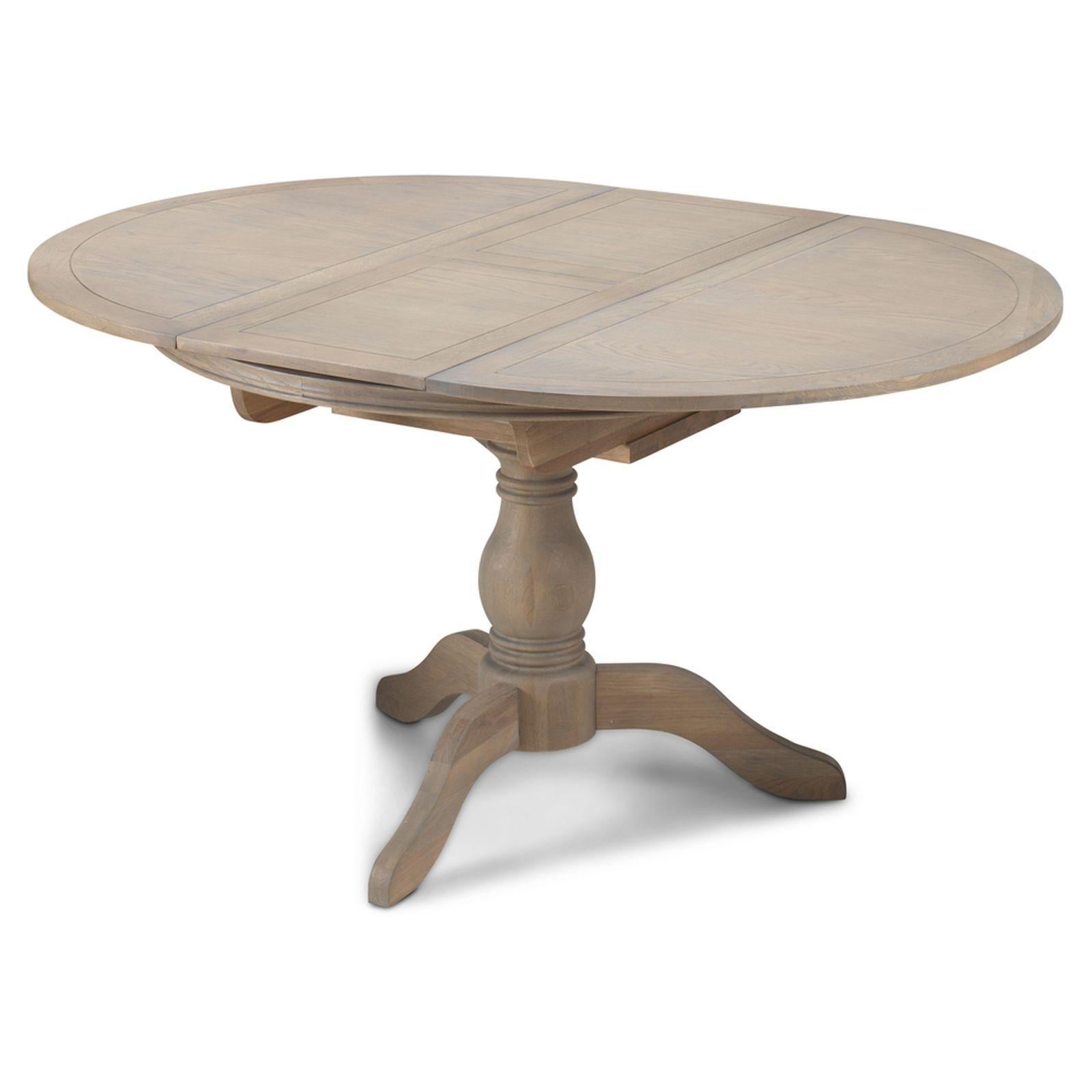 Circular Oak Dining Tables Regarding Most Popular Paloma Oak Furniture Grey Extending Round Circular Dining Table  (View 9 of 25)