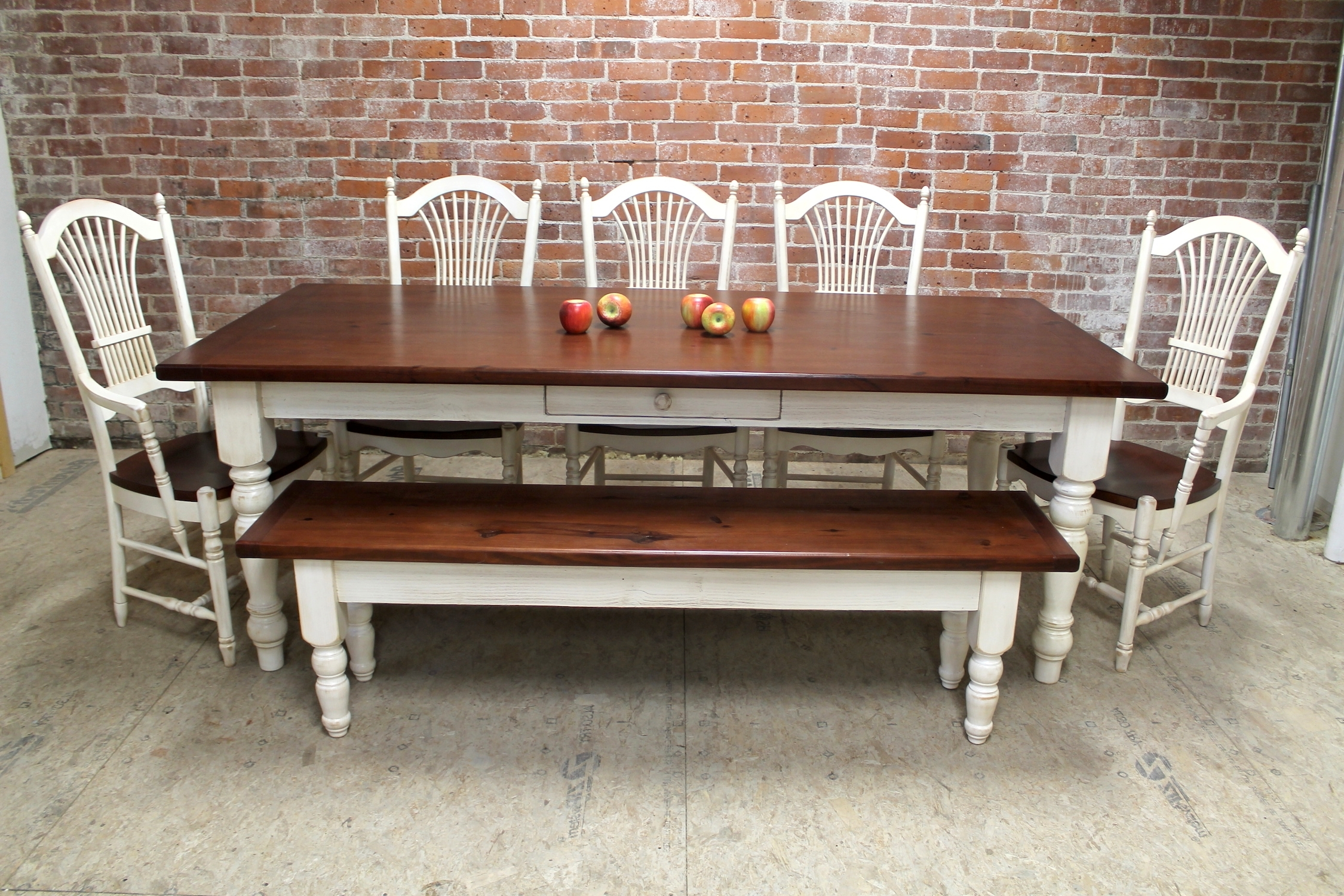 Classic Farmhouse Table With Fan Chairs – Ecustomfinishes Pertaining To Popular Dining Tables With White Legs (View 4 of 25)