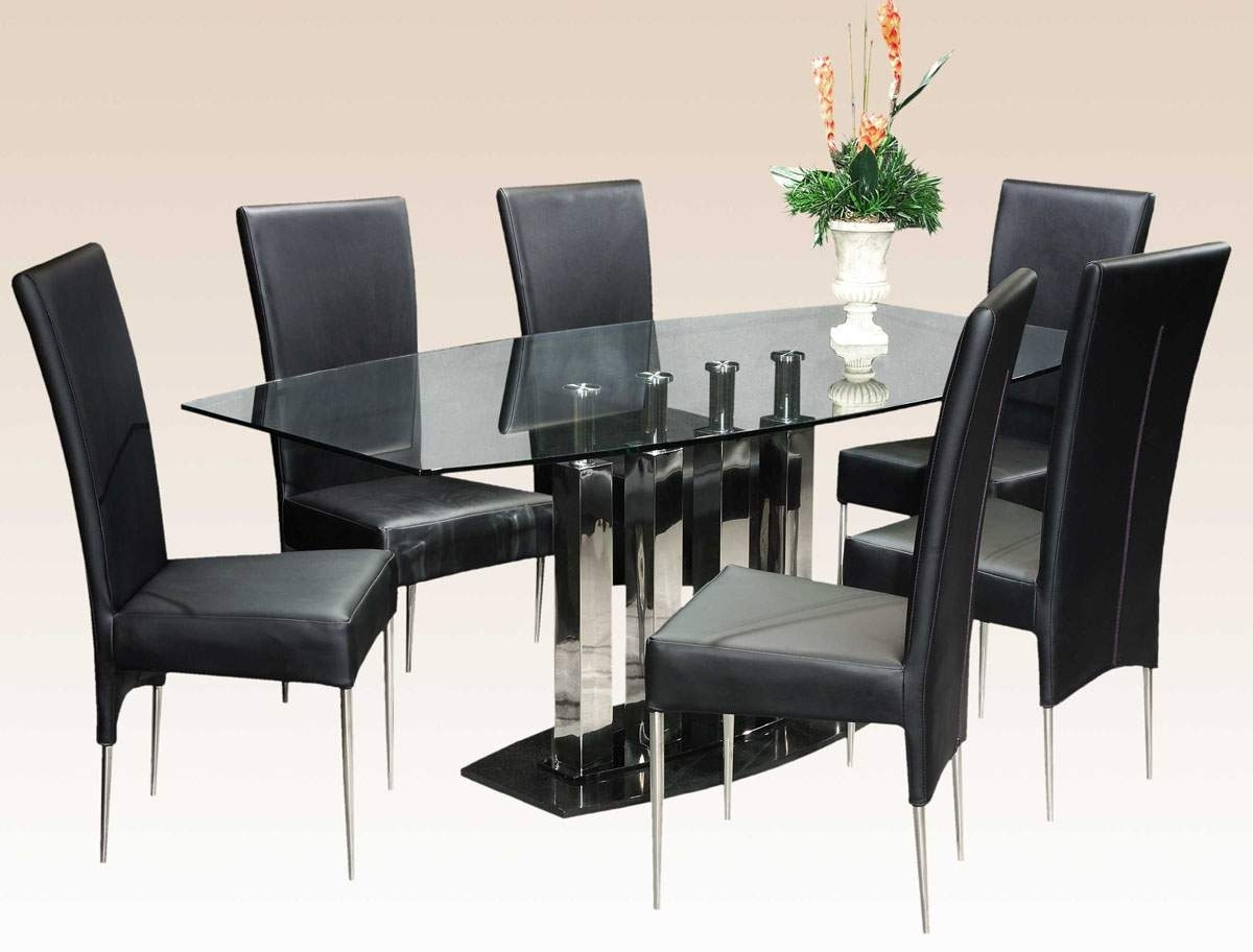 Clear Glass Dining Tables And Chairs For Most Current Stylish Clear Glass Top Marble Leather Modern Dinner Table Set (View 4 of 25)
