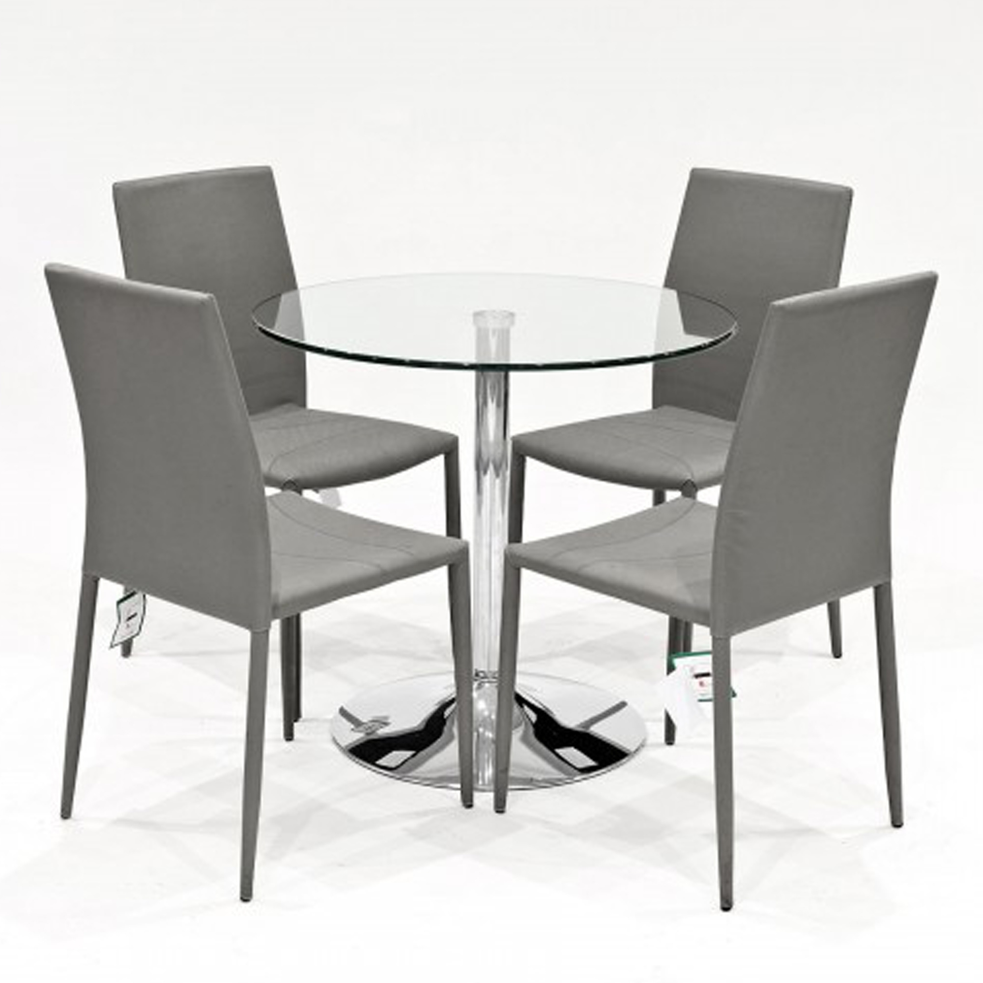 Clear Glass Dining Tables And Chairs Pertaining To Most Recently Released Grey Selina Clear Glass Dining Set (View 6 of 25)