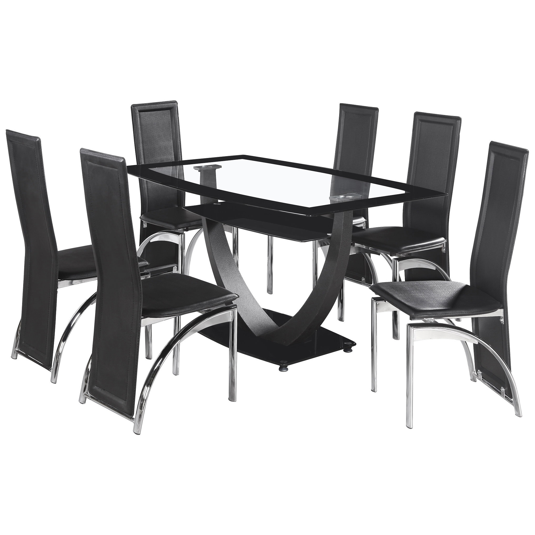 Clear Glass Dining Tables And Chairs Throughout Most Recently Released Details About Black & Clear Glass Dining Table And Chair Set With 6 Leather  Seats (View 22 of 25)
