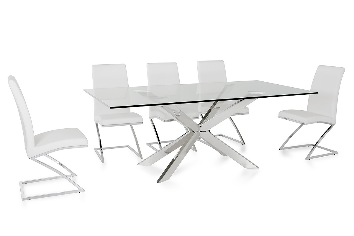 Clear Glass Dining Tables And Chairs With Regard To Widely Used Modrest Xavier Modern Clear Glass Dining Table (View 5 of 25)