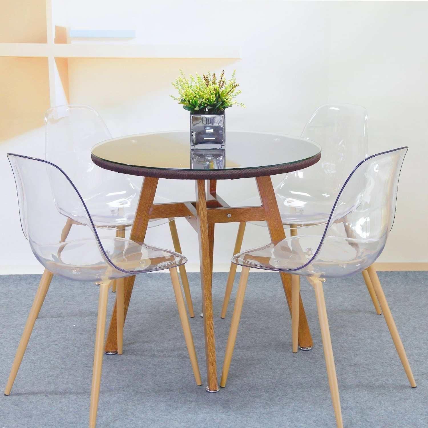 Clear Plastic Dining Tables Pertaining To Favorite Dining Chair Set Kitchen Home Furniture Side Acrylic Transparent (View 6 of 25)