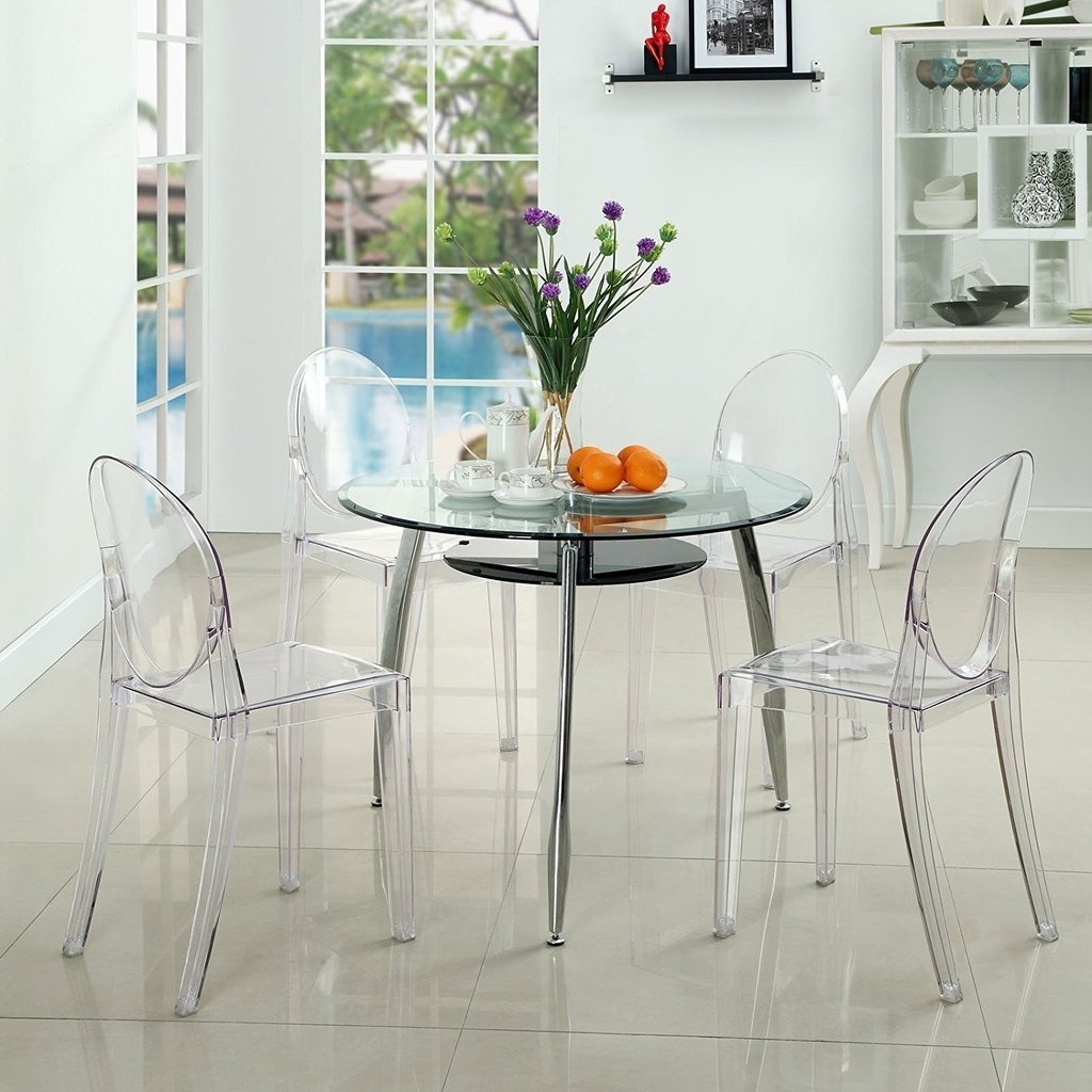 Clear Plastic Dining Tables With Regard To Famous Decoration Ghost Starck Chair Clear Plastic Dining Table And Chairs (View 9 of 25)