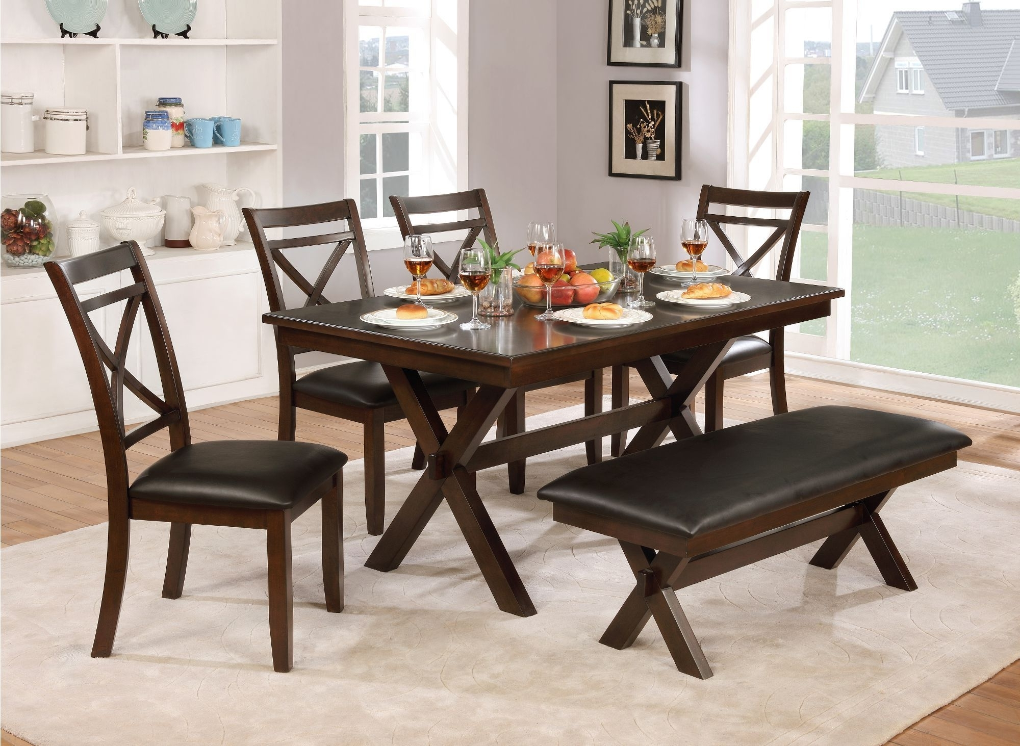 Clearance Dark Cherry Transitional 6 Piece Dining Set With Bench Throughout Most Popular Caden 7 Piece Dining Sets With Upholstered Side Chair (View 15 of 25)