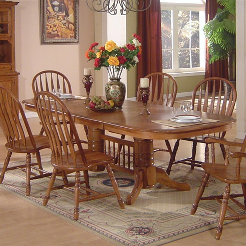 Cm 2151 Antique Gray Oak Dining Set 33275 1501793554 1280 Jpg C 2 With Famous Solid Oak Dining Tables And 8 Chairs (View 3 of 25)