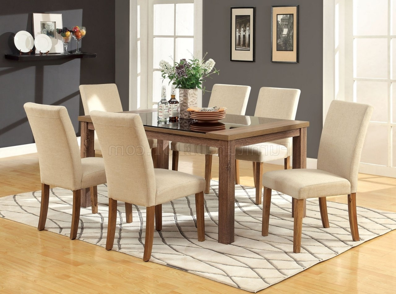 Cm3565T Sundance 5Pc Dining Set Light Oak W/ivory Fabric Chairs Throughout Most Up To Date Oak Dining Tables And Fabric Chairs (Gallery 13 of 25)