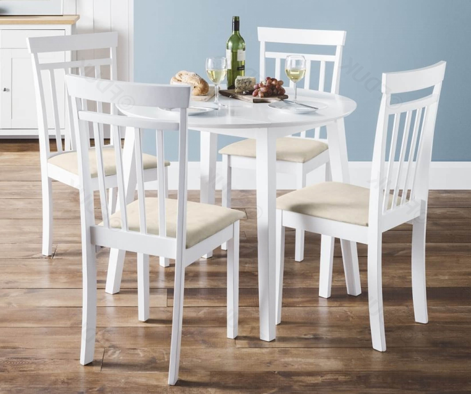 Coast White Drop Leaf Dining Table With 2 Chairs (View 11 of 25)