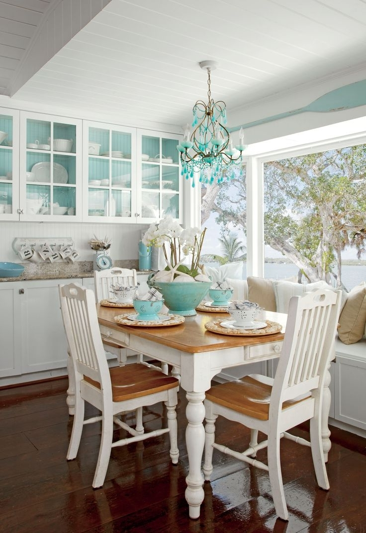 Coastal Dining Tables With Regard To Most Current Atticus Coastal Beach White Oak Contemporary Round Dining Table With (View 6 of 25)