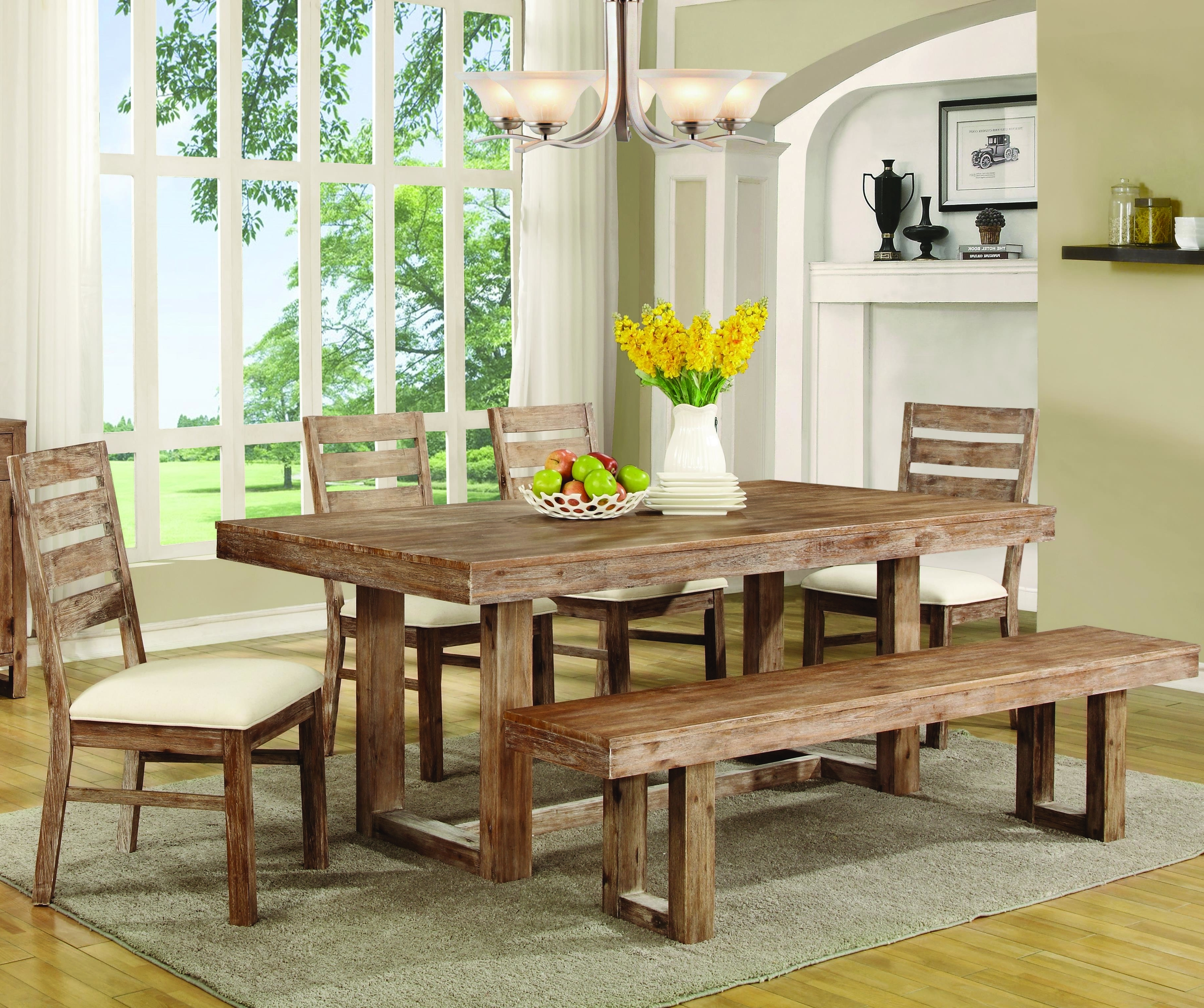 Coaster Elmwood Rustic Table And Chair Set With Dining Bench (View 3 of 25)