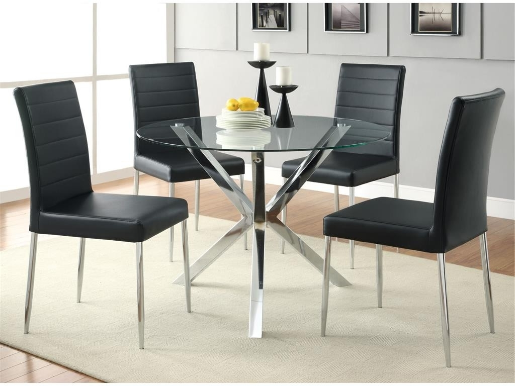 Coaster Glass Dining Table With 4 Dinning Chairs Set – Superco Tv In 2017 Brushed Metal Dining Tables (View 20 of 25)