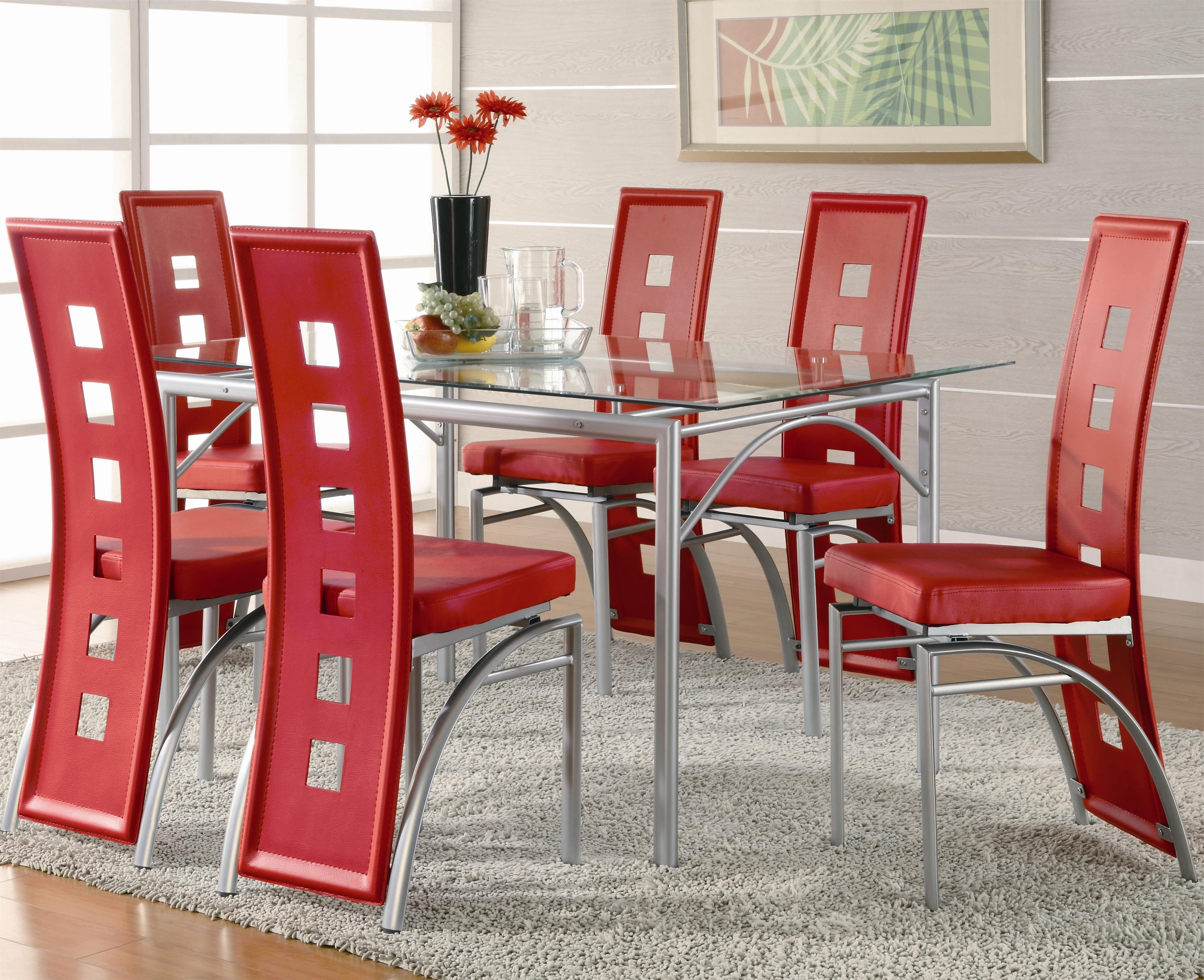 Coaster Los Feliz Contemporary Metal Dinner Table And Red For Trendy Red Dining Table Sets (View 2 of 25)