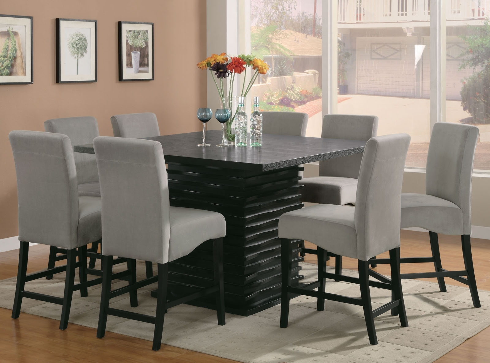 Coaster Stanton 9Pc Counter Height Dining Set In Black With Gray Inside Famous Dining Tables Set For  (View 4 of 25)