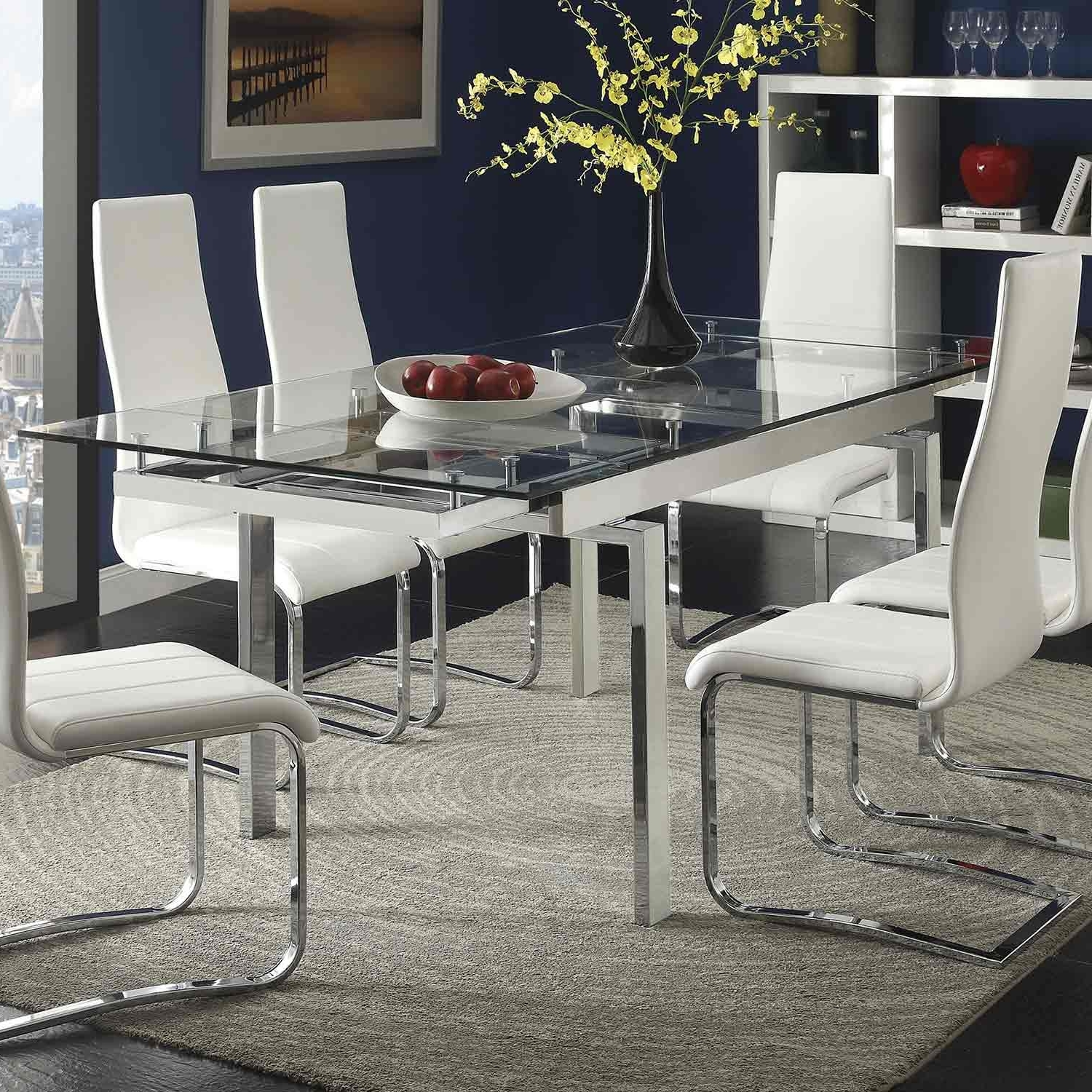 Coaster Wexford Rectangular Expandable Glass Dining Table – Chrome Regarding Well Known Chrome Glass Dining Tables (View 3 of 25)