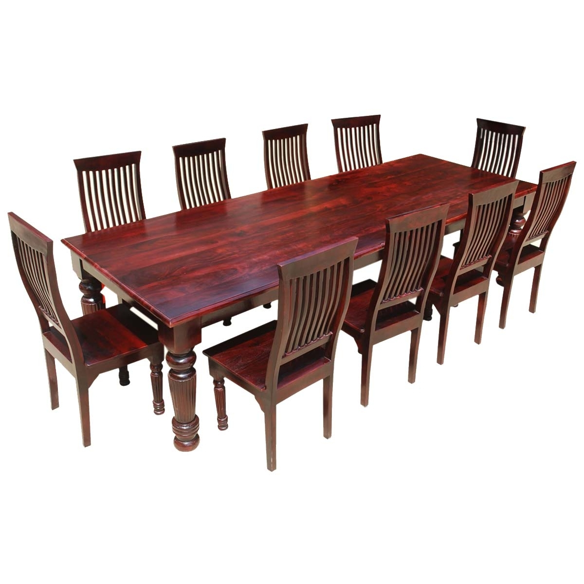 Colonial American Large Rustic Wood Dining Table And 10 Chairs Set Intended For Most Recent Dining Table And 10 Chairs (View 3 of 25)