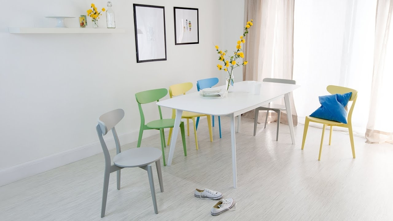 Colourful Dining Tables And Chairs Within Famous White Extending Dining Table And Colourful Dining Chairs – Youtube (View 6 of 25)