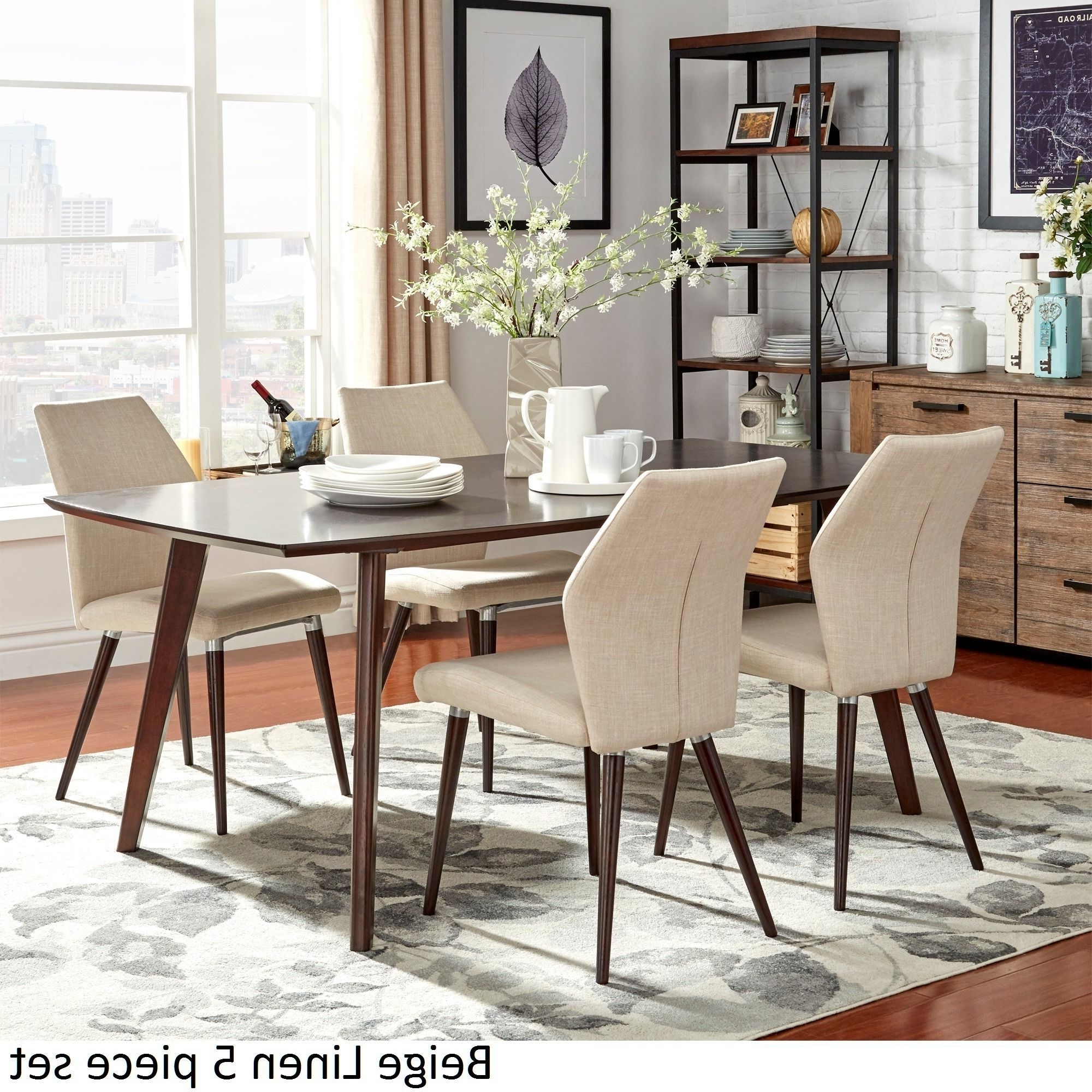 Combs 5 Piece 48 Inch Extension Dining Sets With Mindy Side Chairs With Regard To Newest Napoli Round Dinette W/ Corona Beige Chairs (Gallery 20 of 25)
