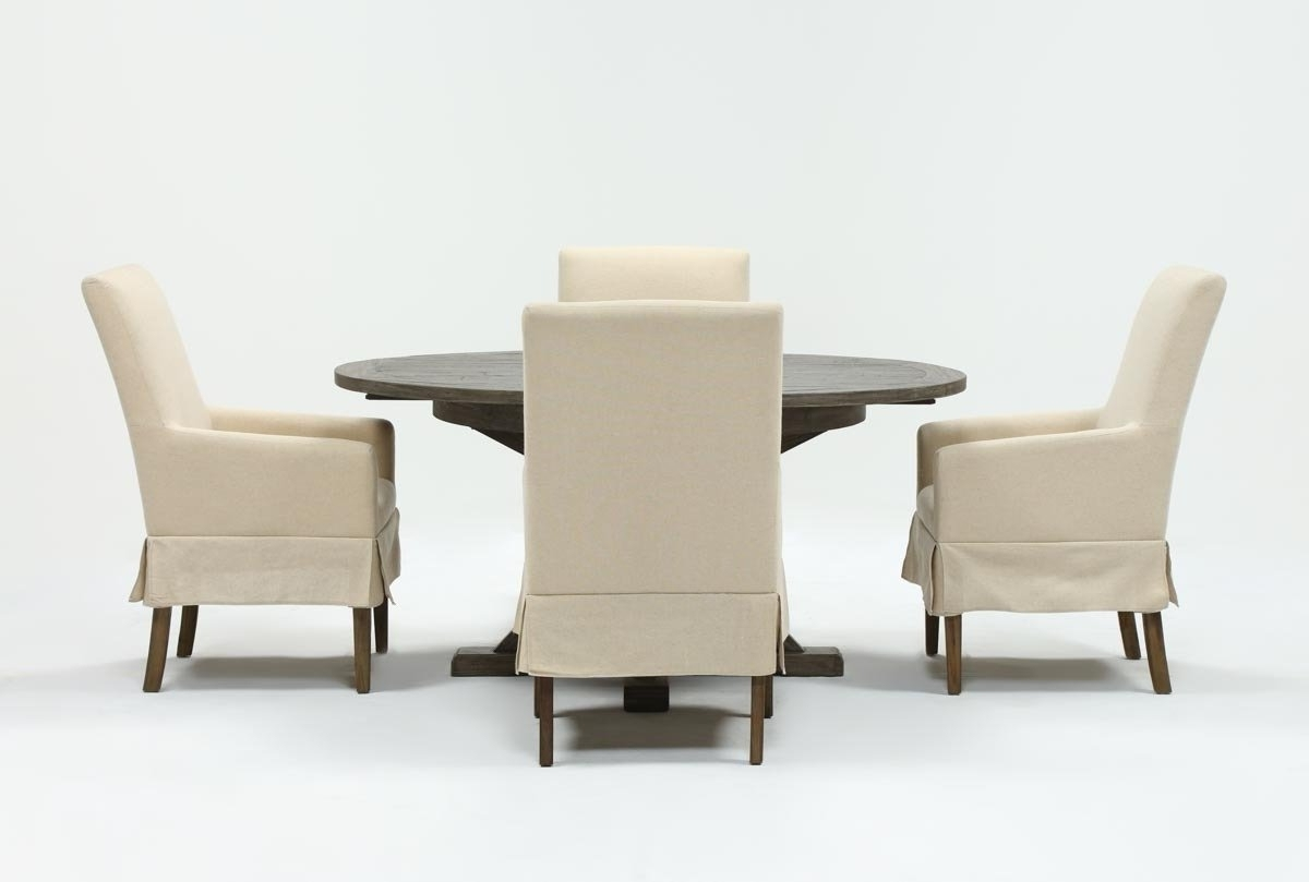 Combs 5 Piece Dining Sets With Mindy Slipcovered Chairs With Regard To Most Current Combs 5 Piece 48 Inch Extension Dining Set With Mindy Side Chairs (View 2 of 25)