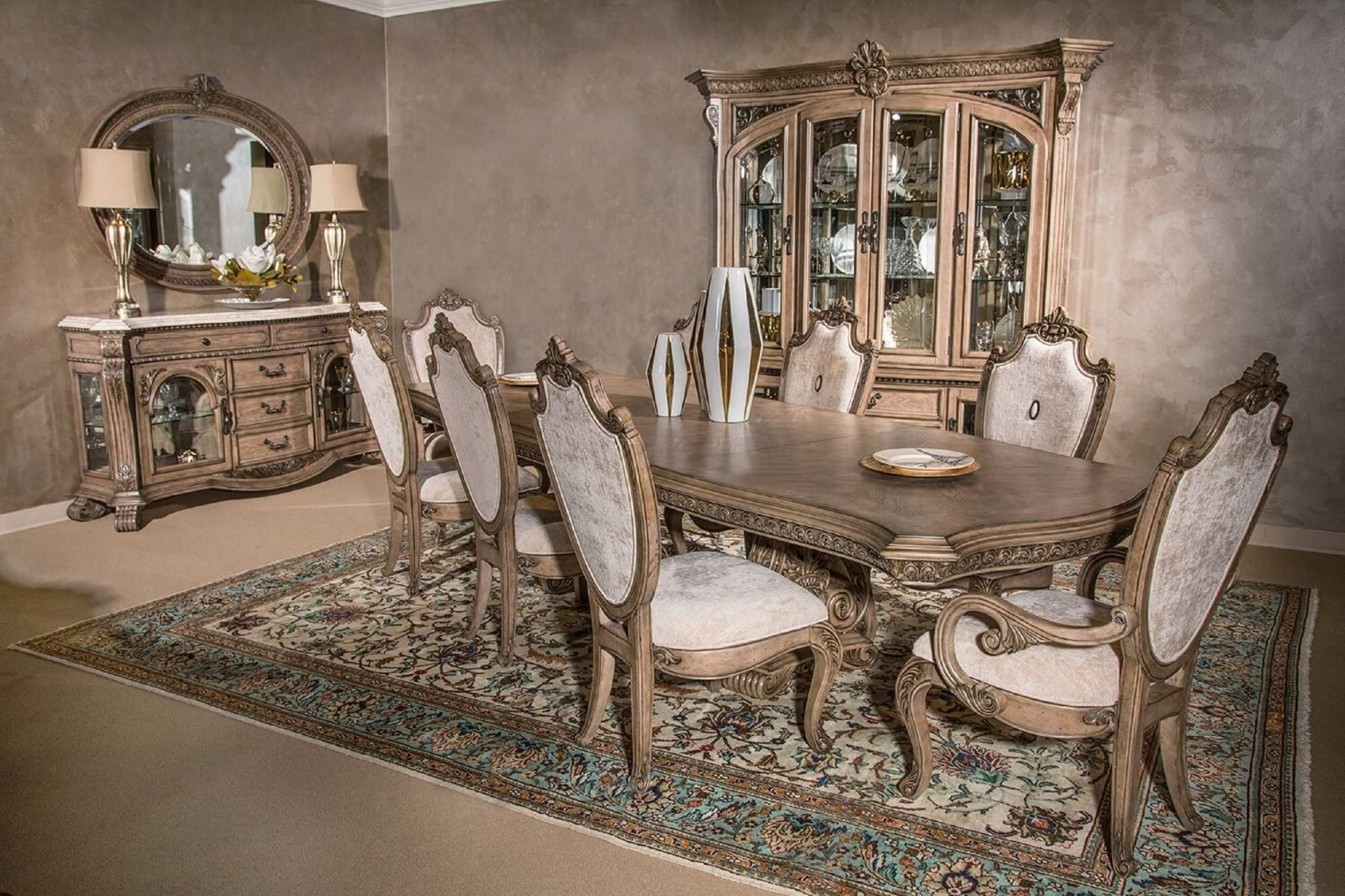 Como Dining Tables Intended For Trendy Michael Amini Villa Di Como Dining Set Heritage Finish – Usa (Gallery 17 of 25)