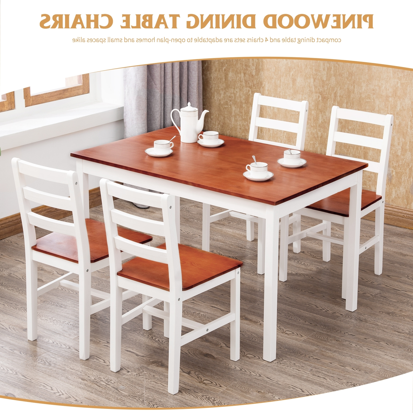 Compact Dining Room Sets With Popular 5 Piece Pine Wood Dining Table And Chairs Dining Table Set Kitchen (View 3 of 25)