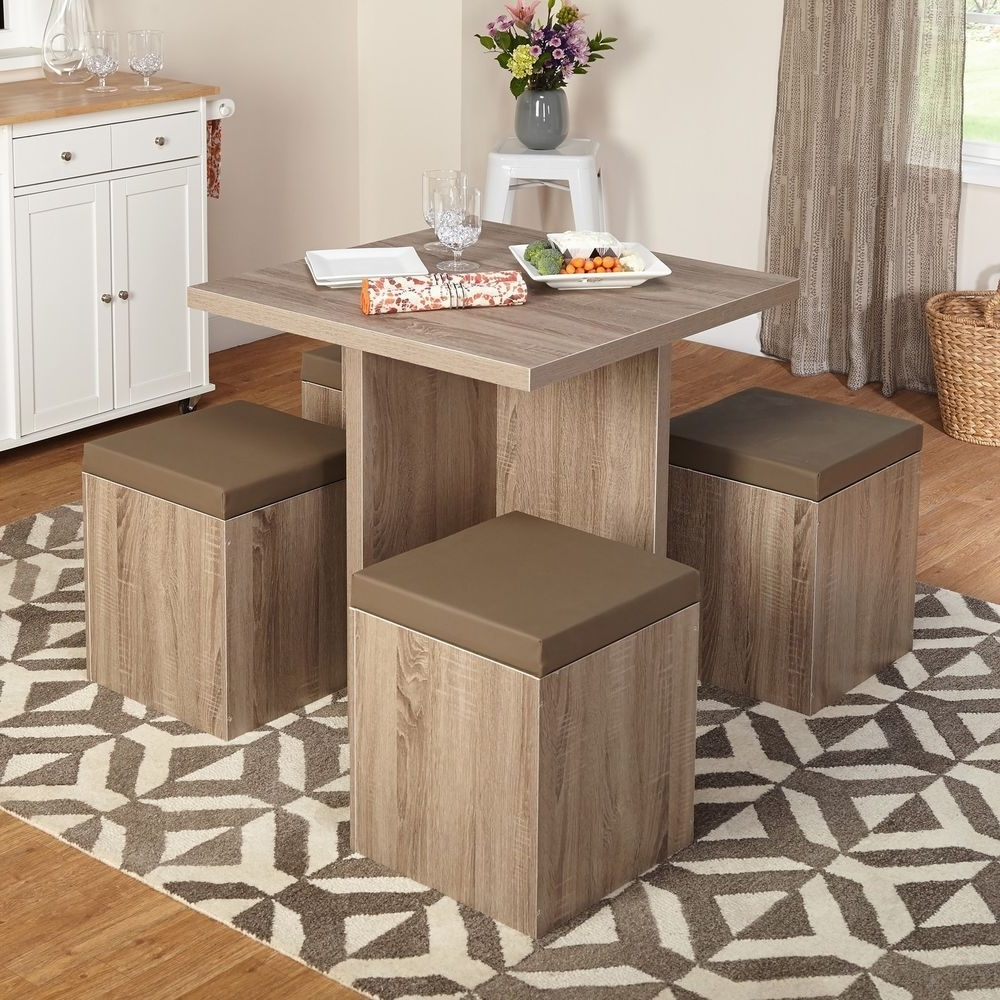 Compact Dining Tables And Chairs With Well Known Compact Dining Set Studio Apartment Storage Ottomans Small Kitchen (View 1 of 25)