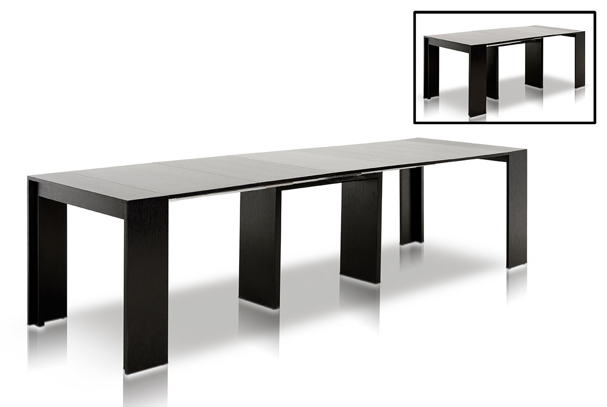 Compact Dining Tables With 2017 Morph Modern Ultra Compact Extendable Black Dining Table (View 21 of 25)